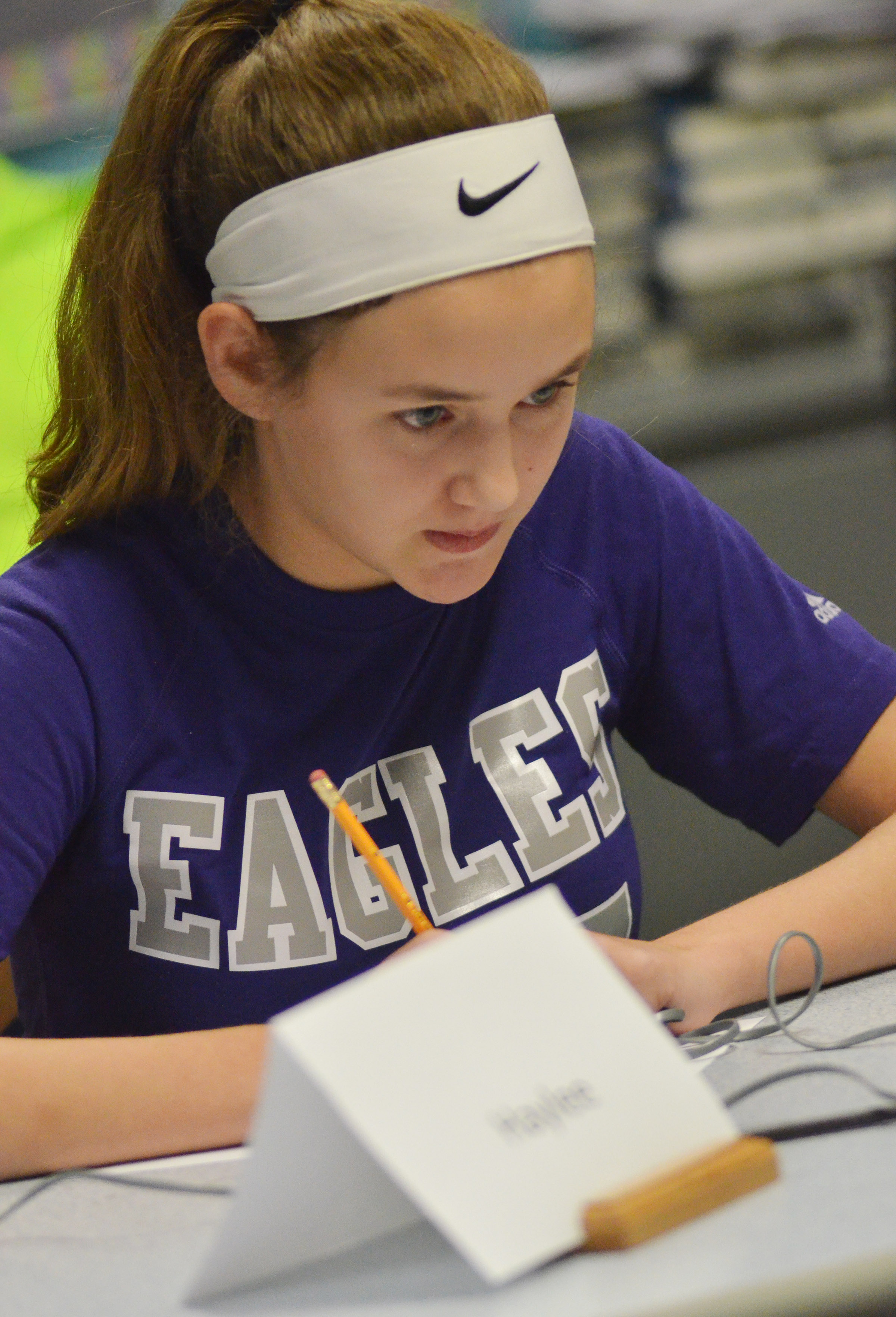 CMS seventh-grader Haylee Allen listens to a question.