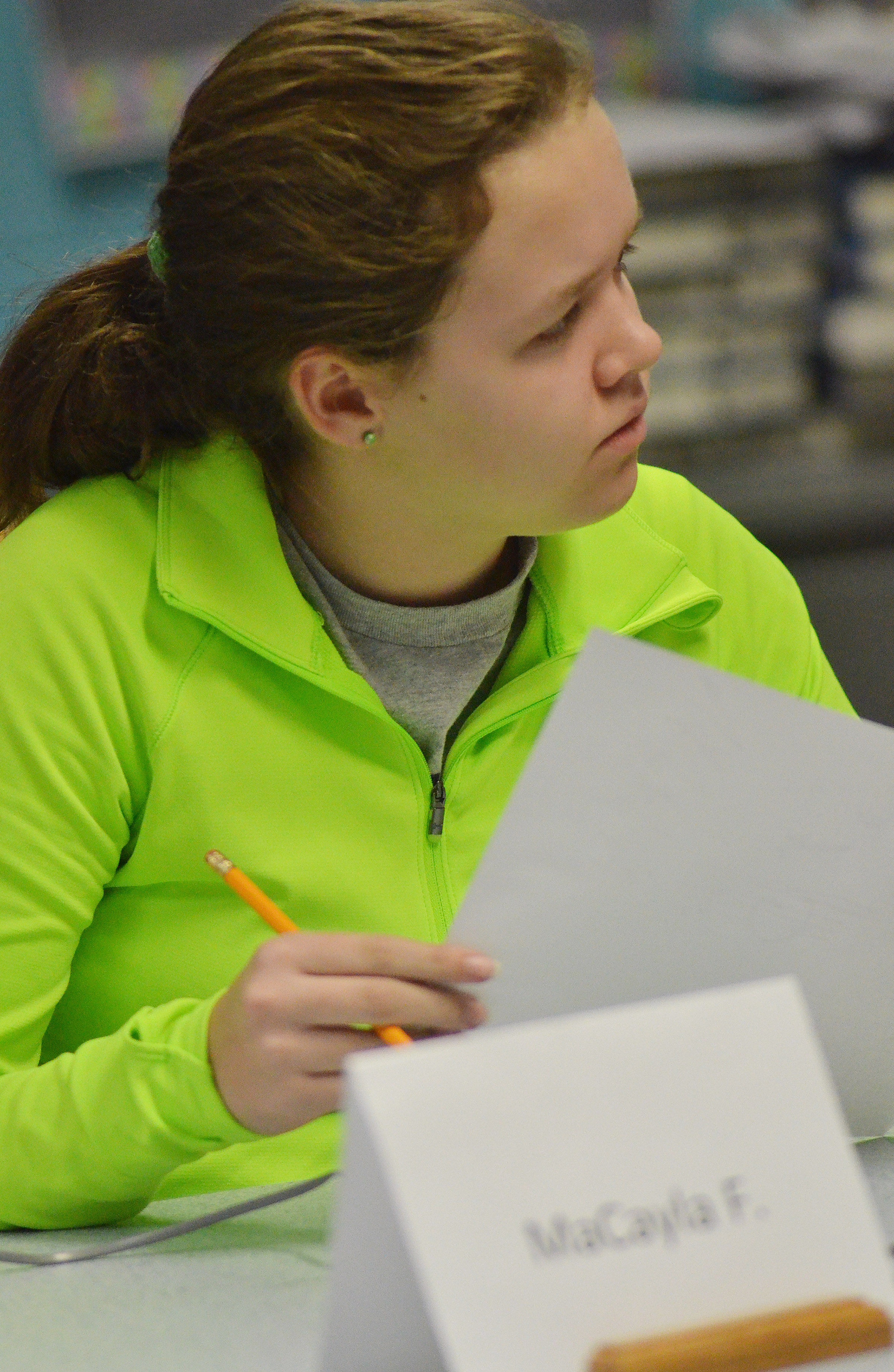 CMS seventh-grader MaCayla Falls thinks about a question.