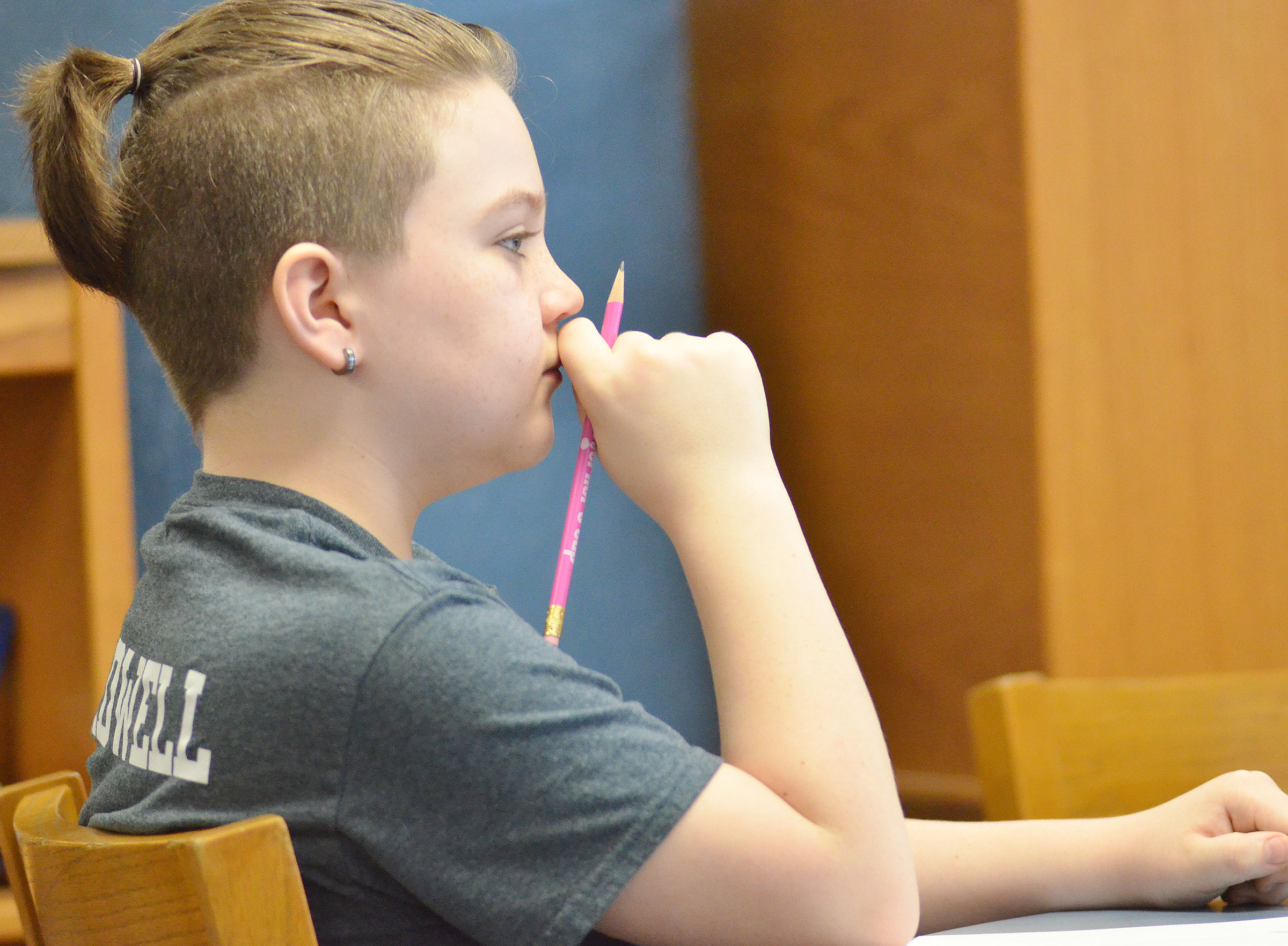 CMS fifth-grader Kayden Birdwell thinks about a question.