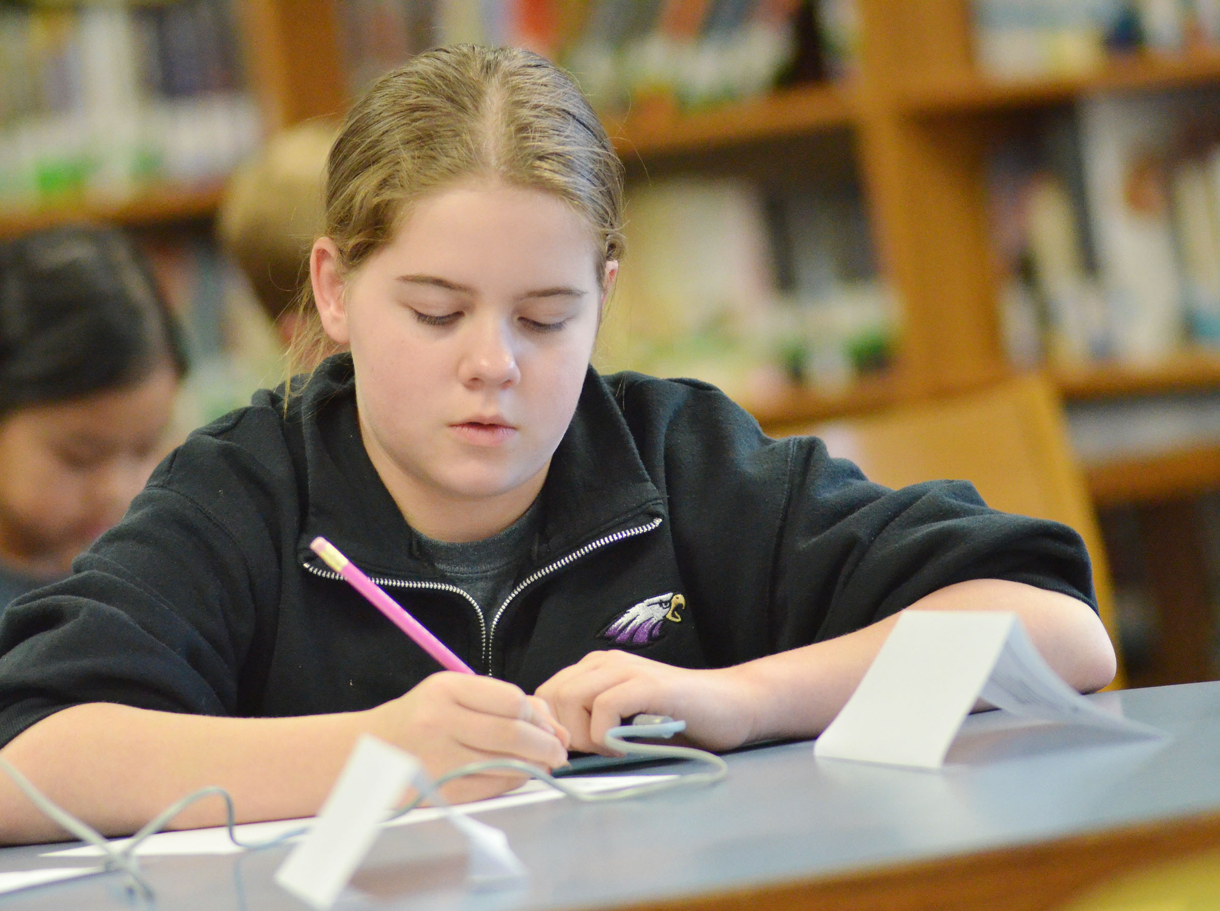 CMS fifth-grader Layla Steen works a math problem.