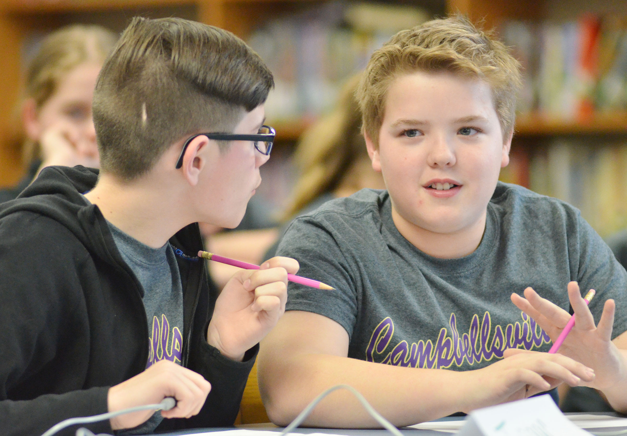 CMS fifth-graders Isaac Garrison, at left, and Ryan Grubbs talk during a break.