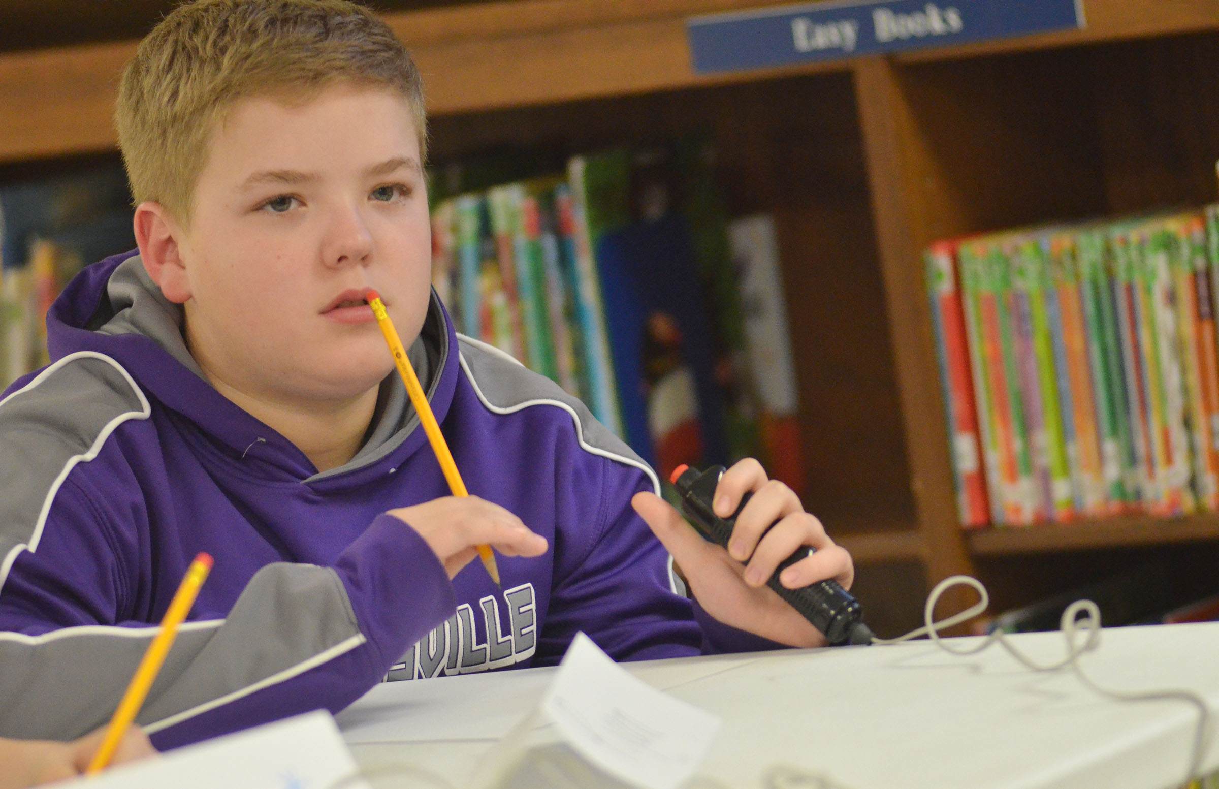 CMS fifth-grader Ryan Grubbs listens to a question.