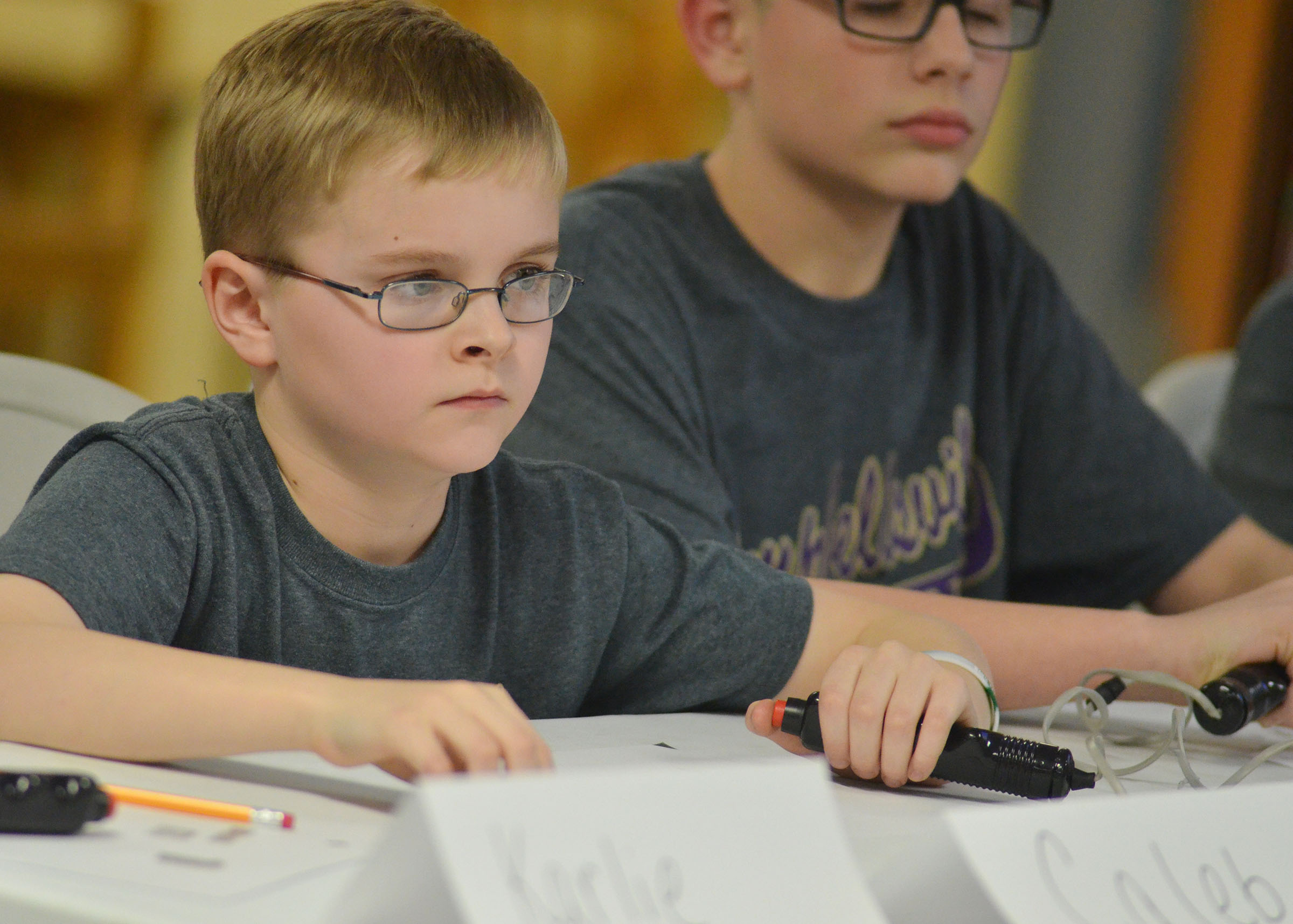 CMS fifth-grader Caleb Holt listens to a question.