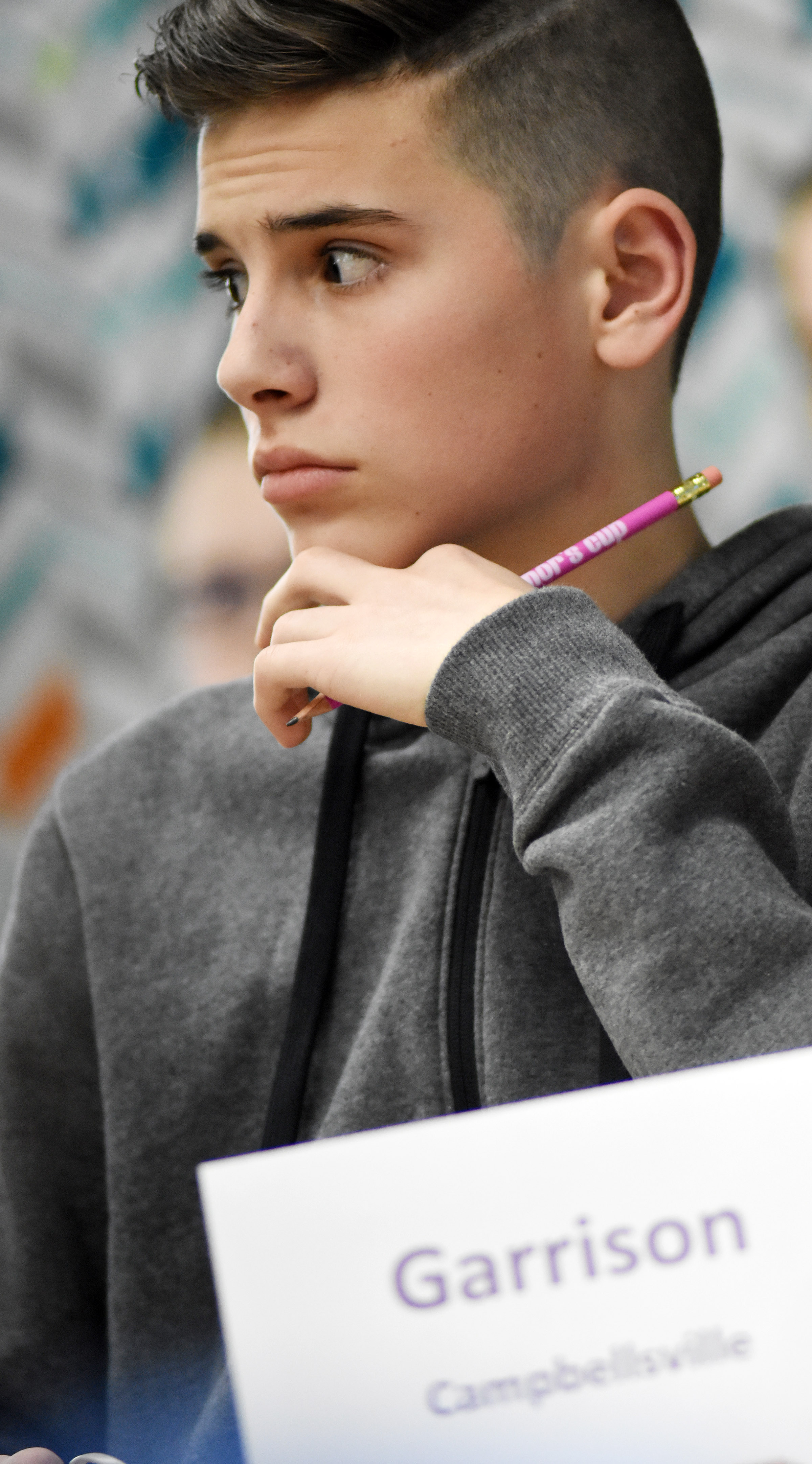 CMS sixth-grader Isaac Garrison listens to a question during a quick recall match.