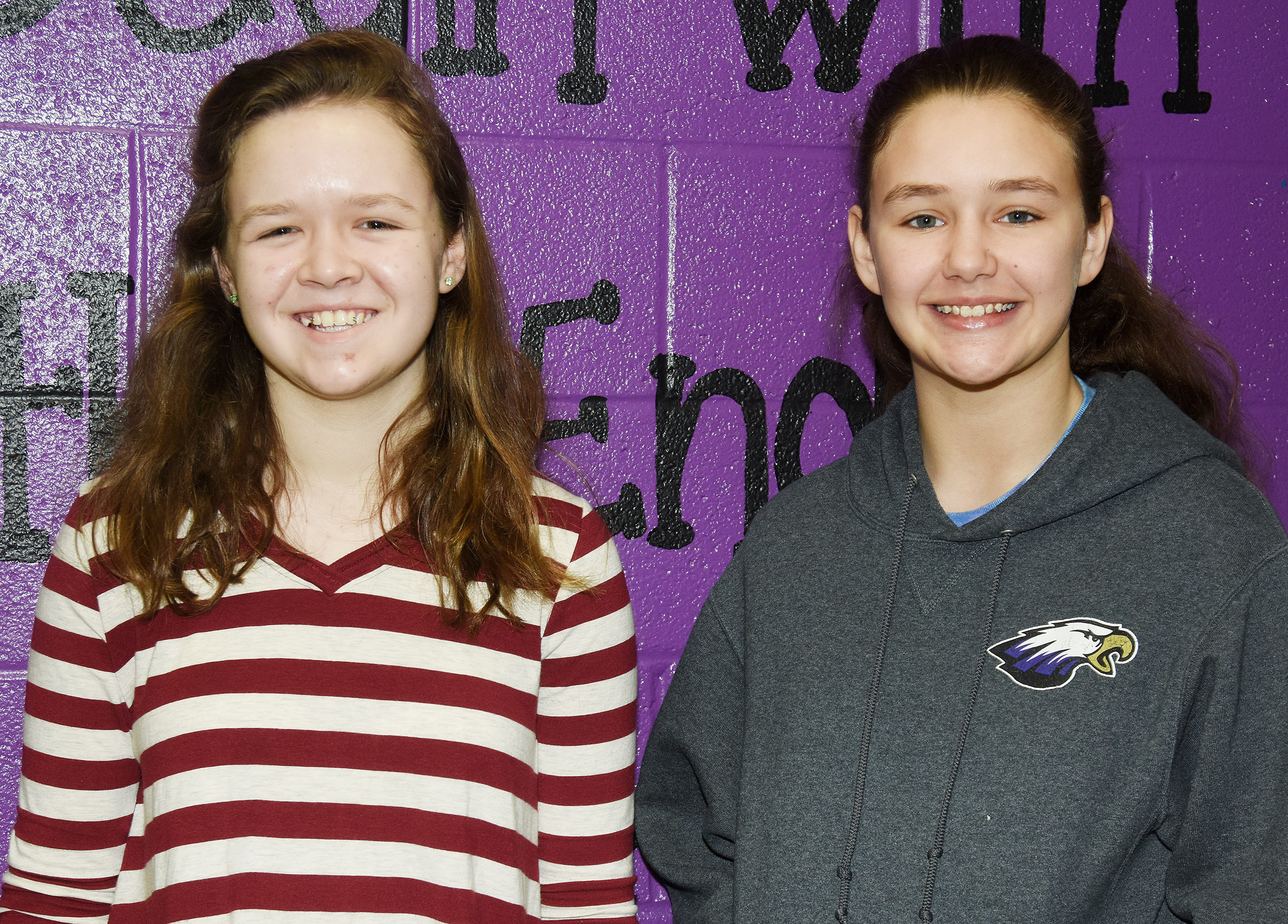 CMS seventh-graders MaCayla Falls, at left, and Haylee Allen placed fourth in science and math, respectively, at region Governor's Cup on Saturday, Feb. 3, and now advance to state competition.