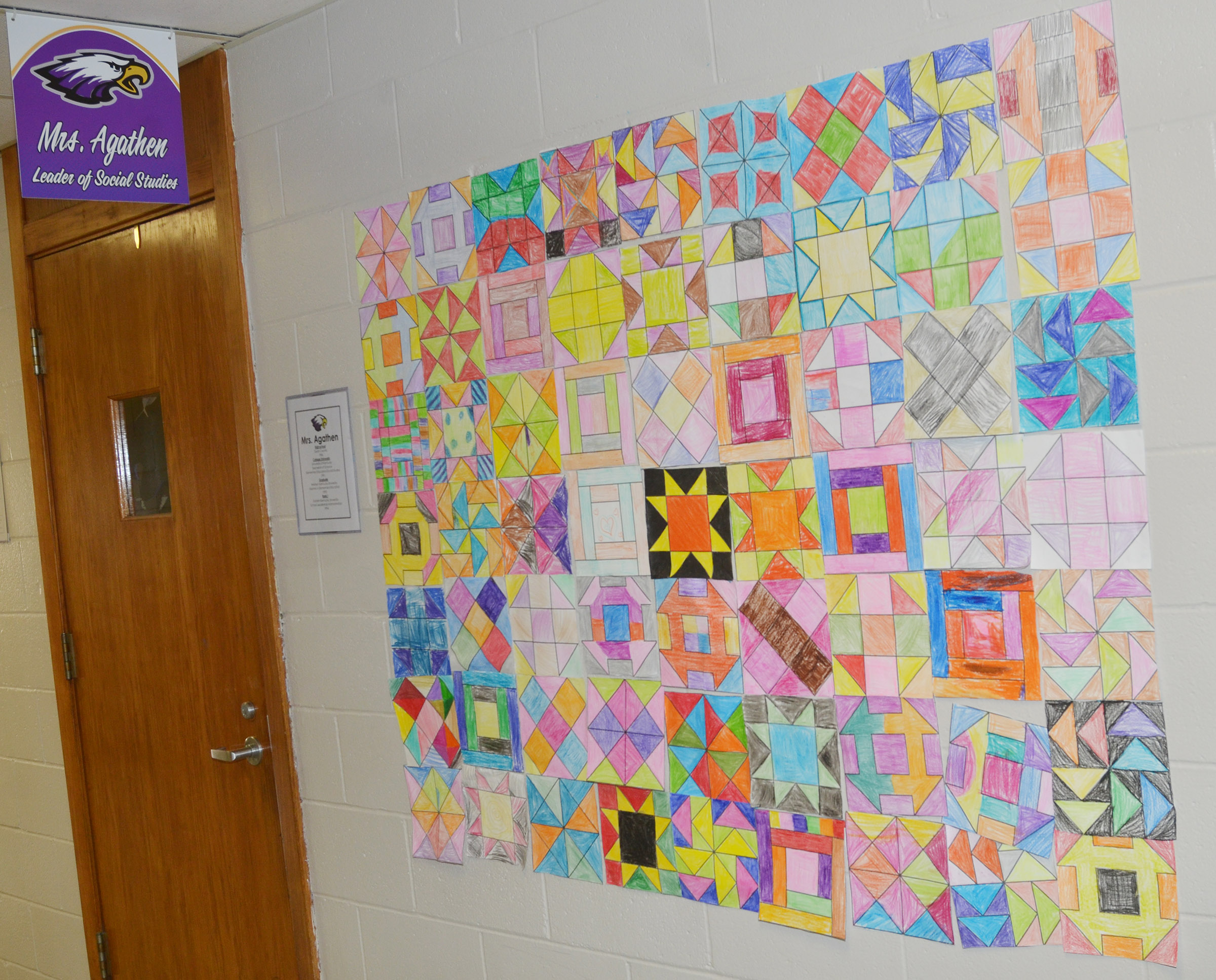 CMS fourth-graders made these quilt squares, which were hung where slaves could receive help as they traveled the Underground Railroad.