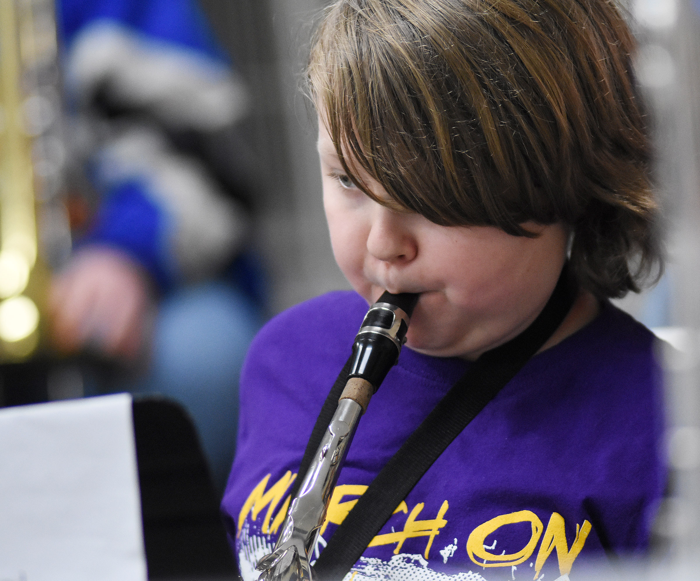 CMS sixth-grader Zachary Akin plays alto saxophone with the KMEA all-district band.