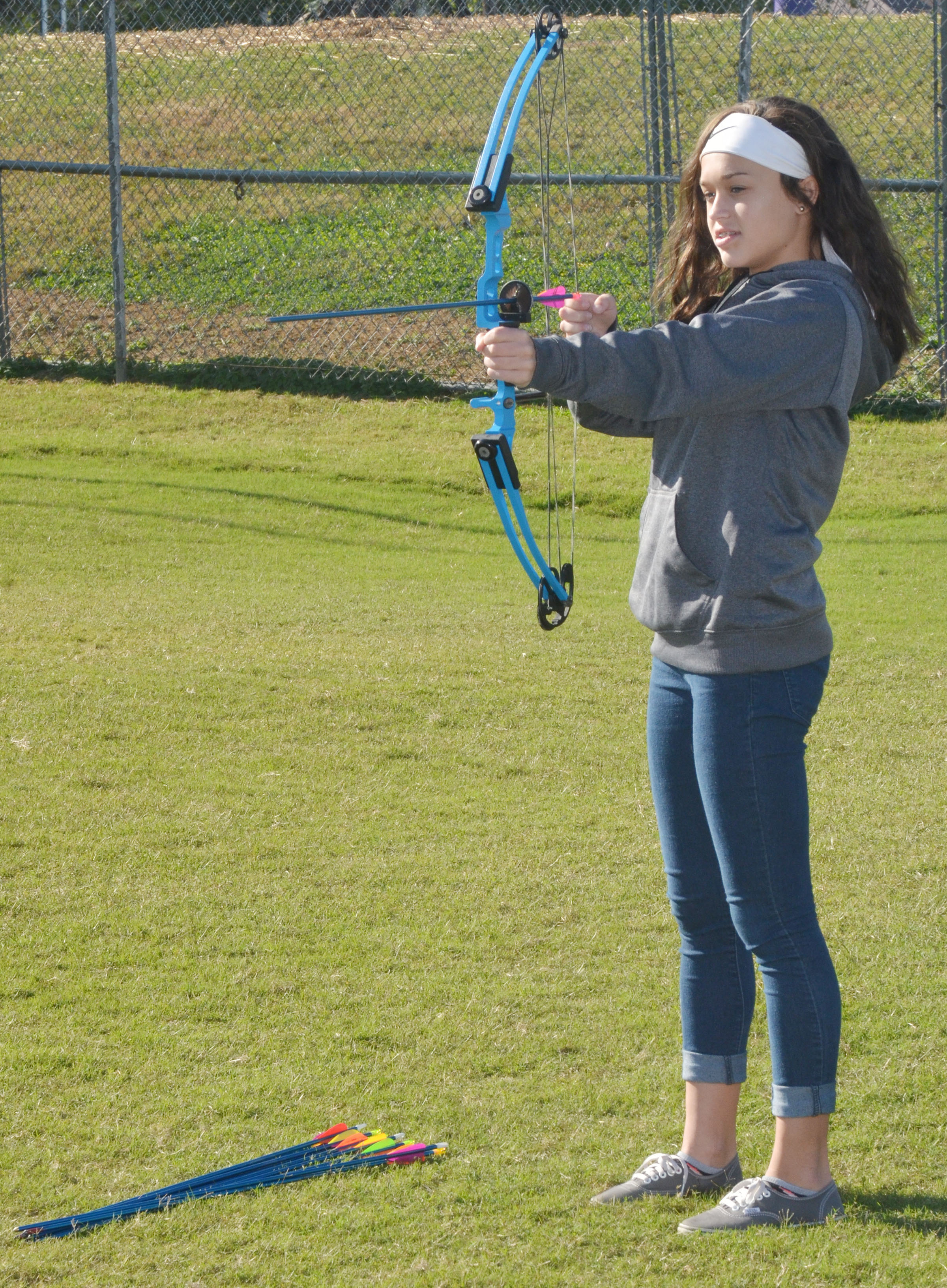 CMS seventh-grader Tayler Thompson takes aim.