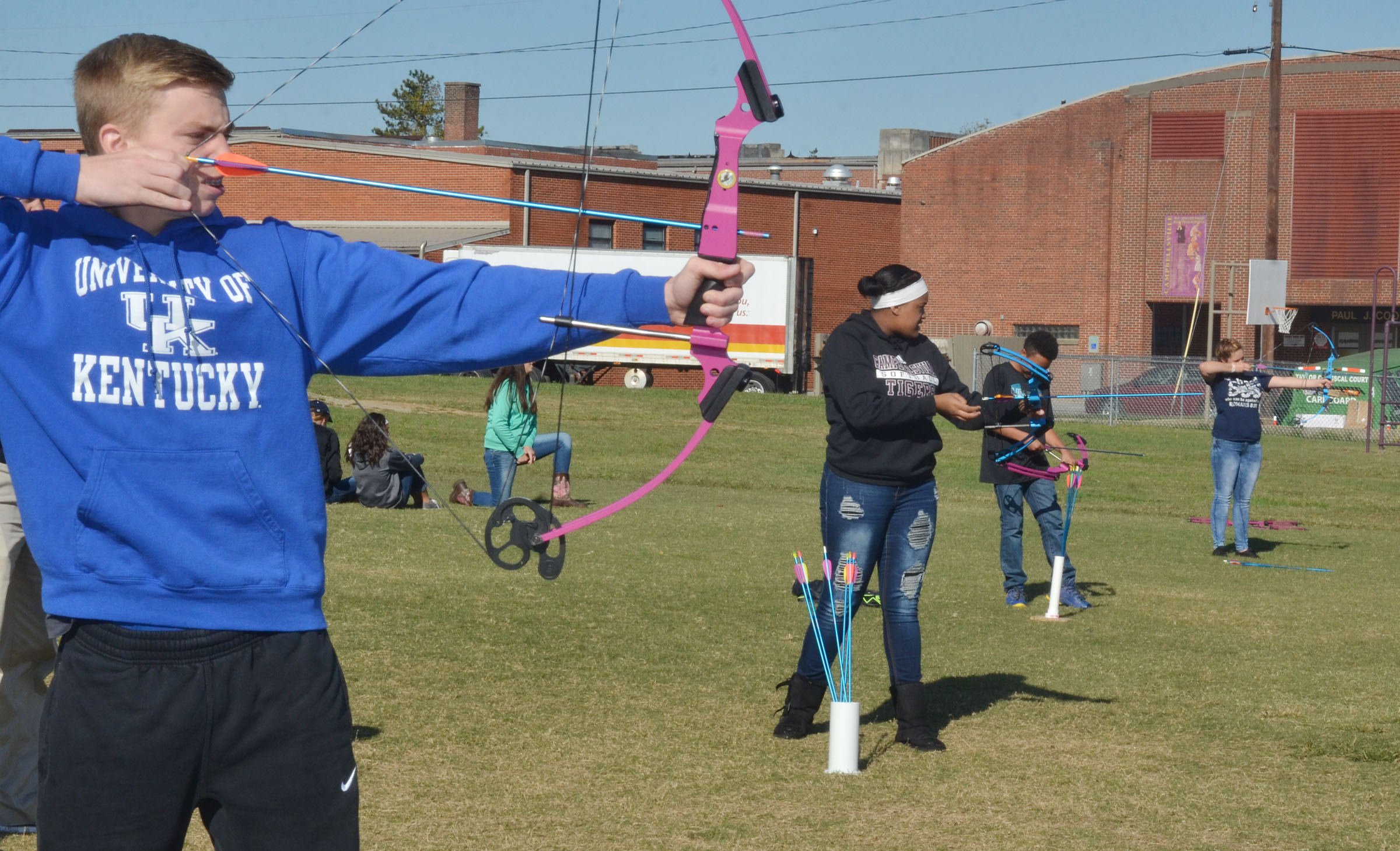 CMS eighth-grader Arren Hash aims for the target.