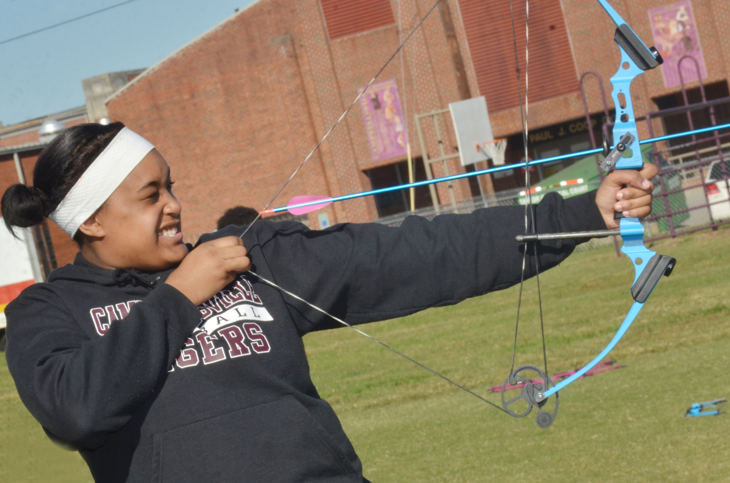 CMS eighth-grader Kelsey King takes aim.