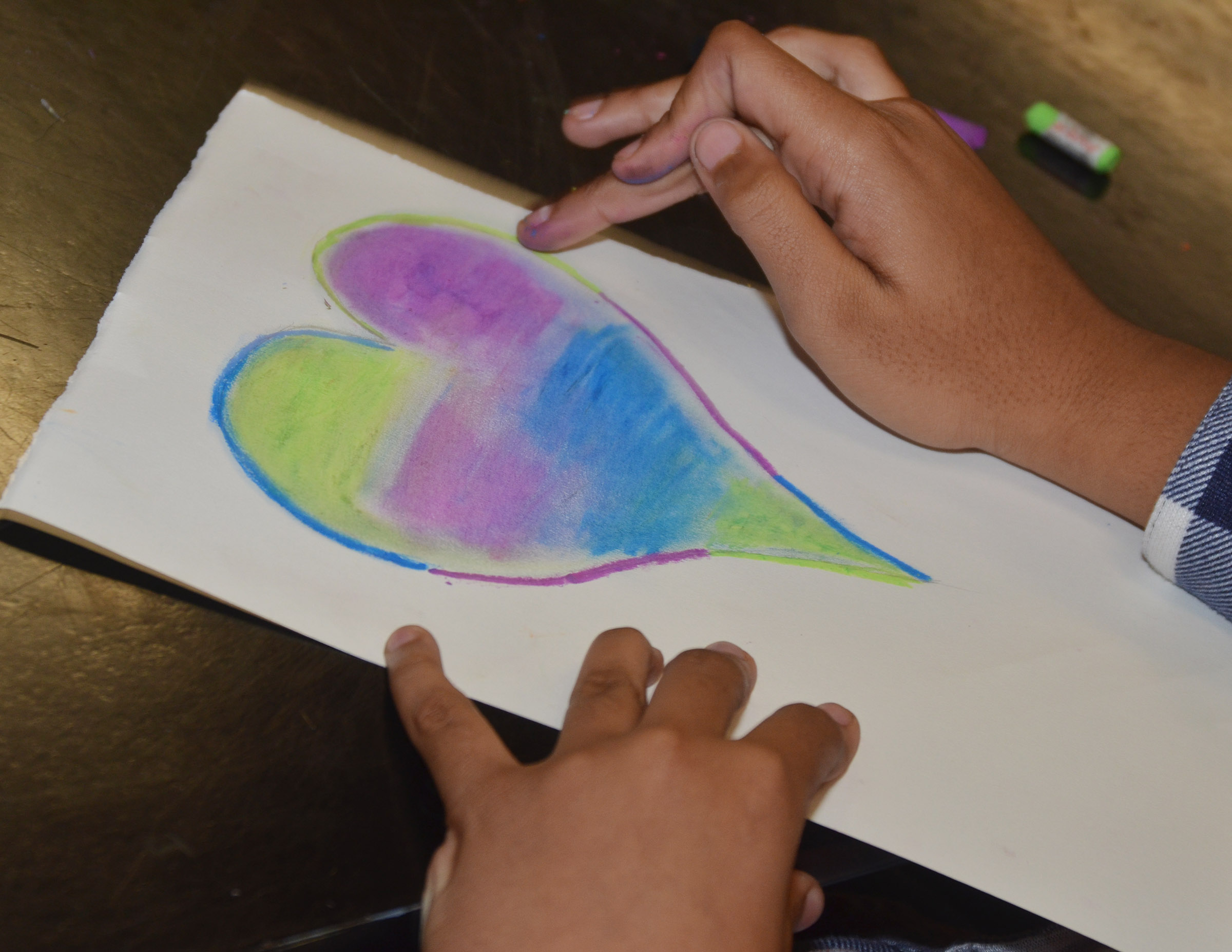 CMS seventh-grader Antaya Epps adds color to her heart.