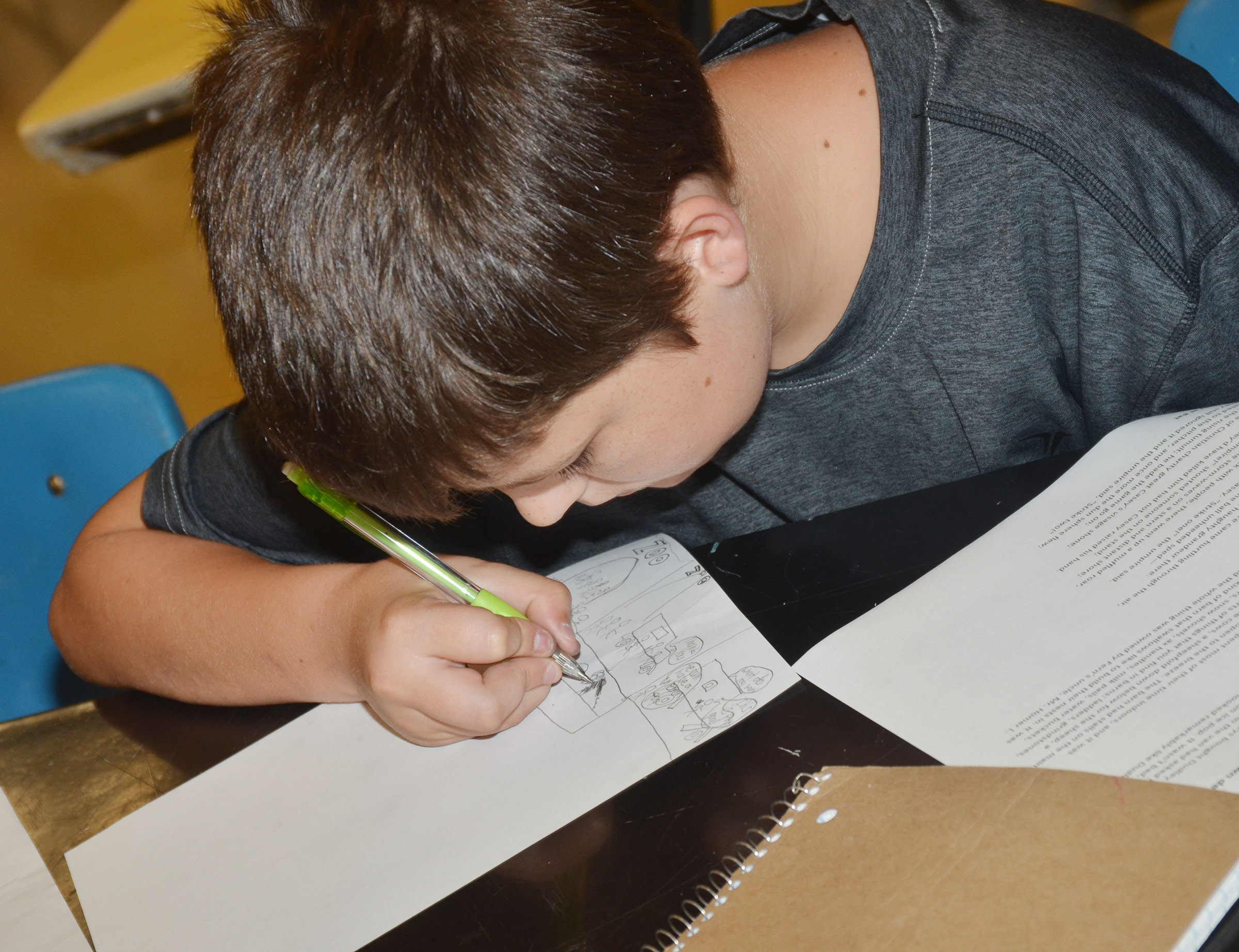 CMS eighth-grader Cohen Moon draws.