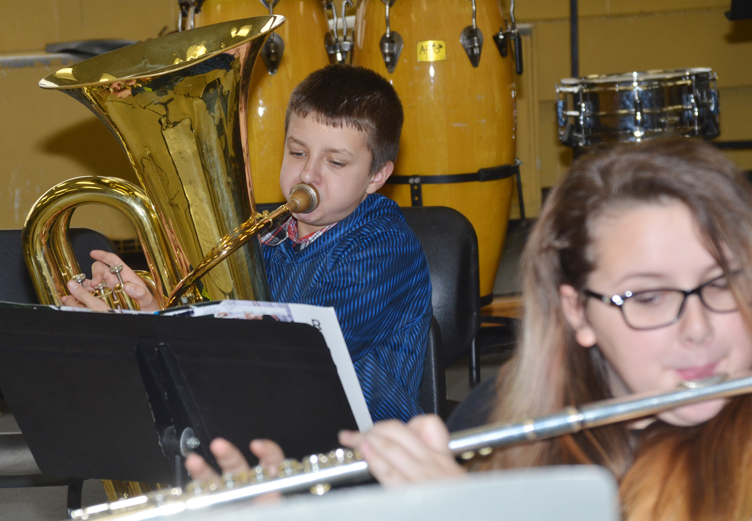 CMS seventh-grader Tyler Booth plays the tuba.