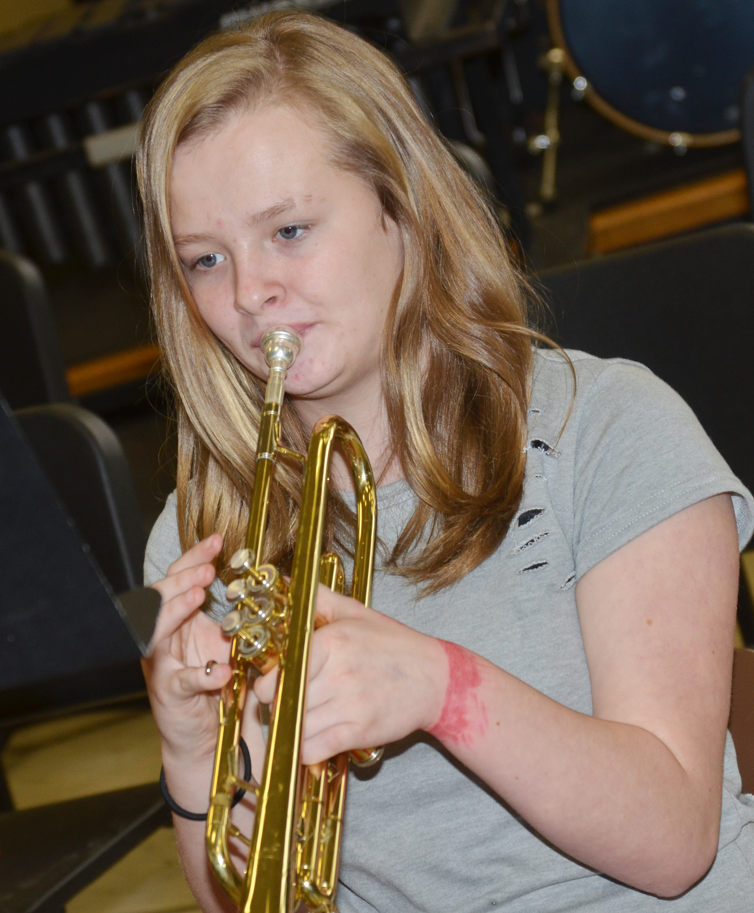 CMS seventh-grader Davanna Reardon plays the trumpet.