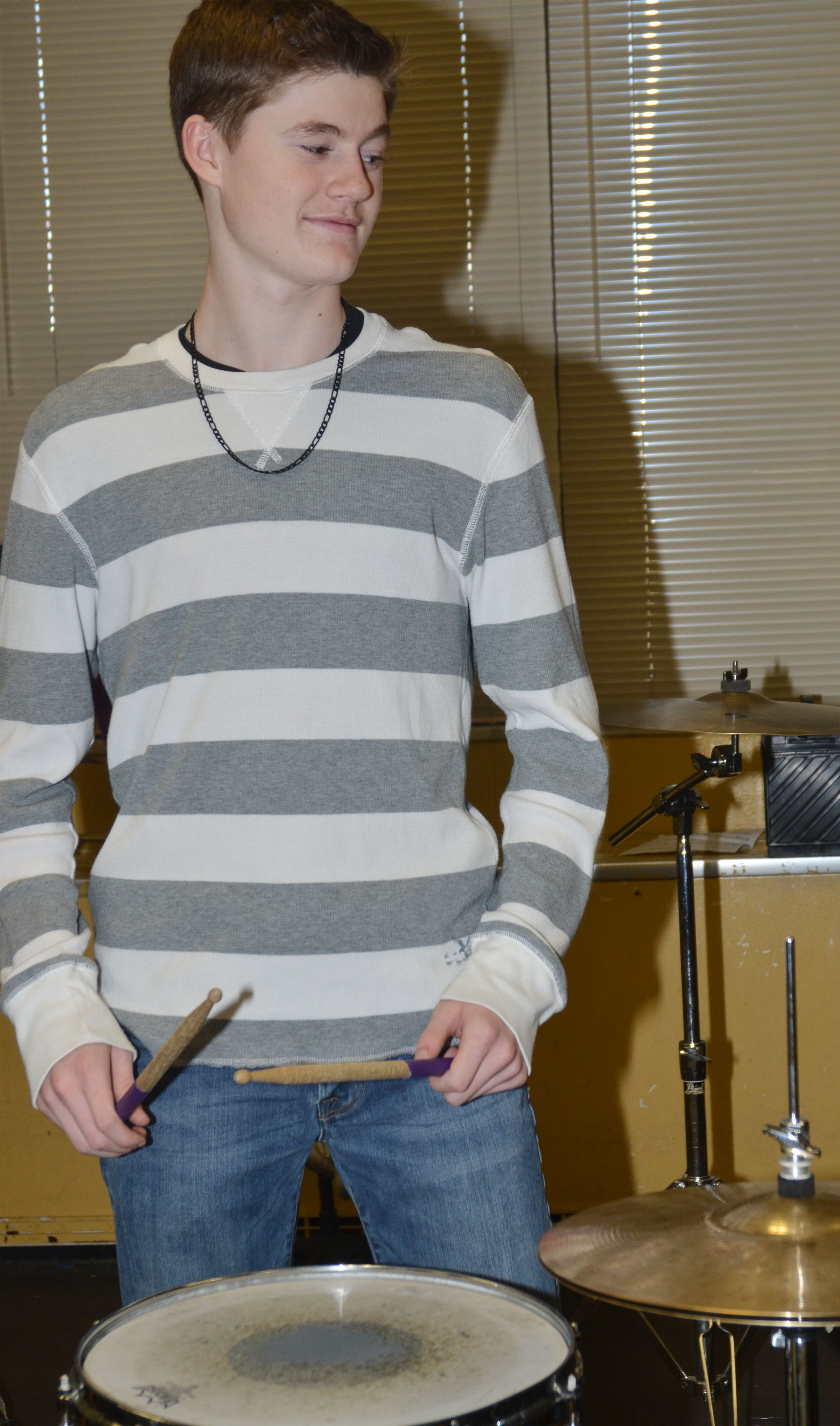CMS eighth-grader Tristin Faulkner plays the snare drum.