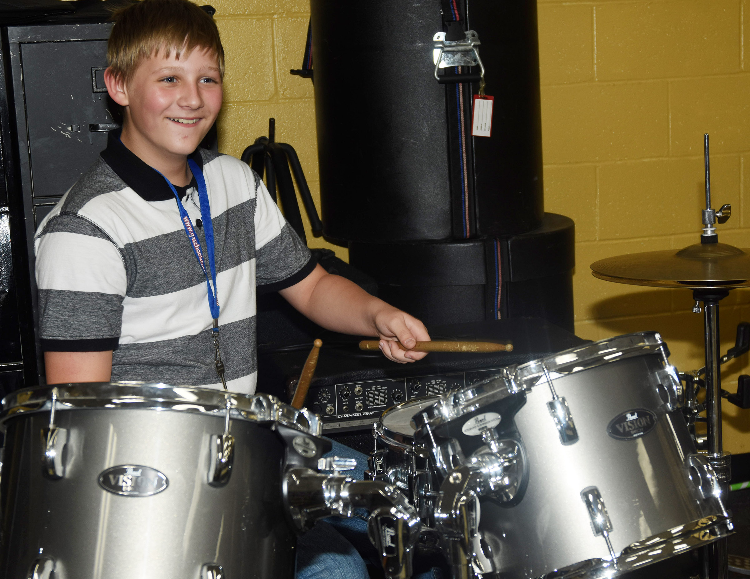 CMS sixth-grader Jesse King plays the drum set.