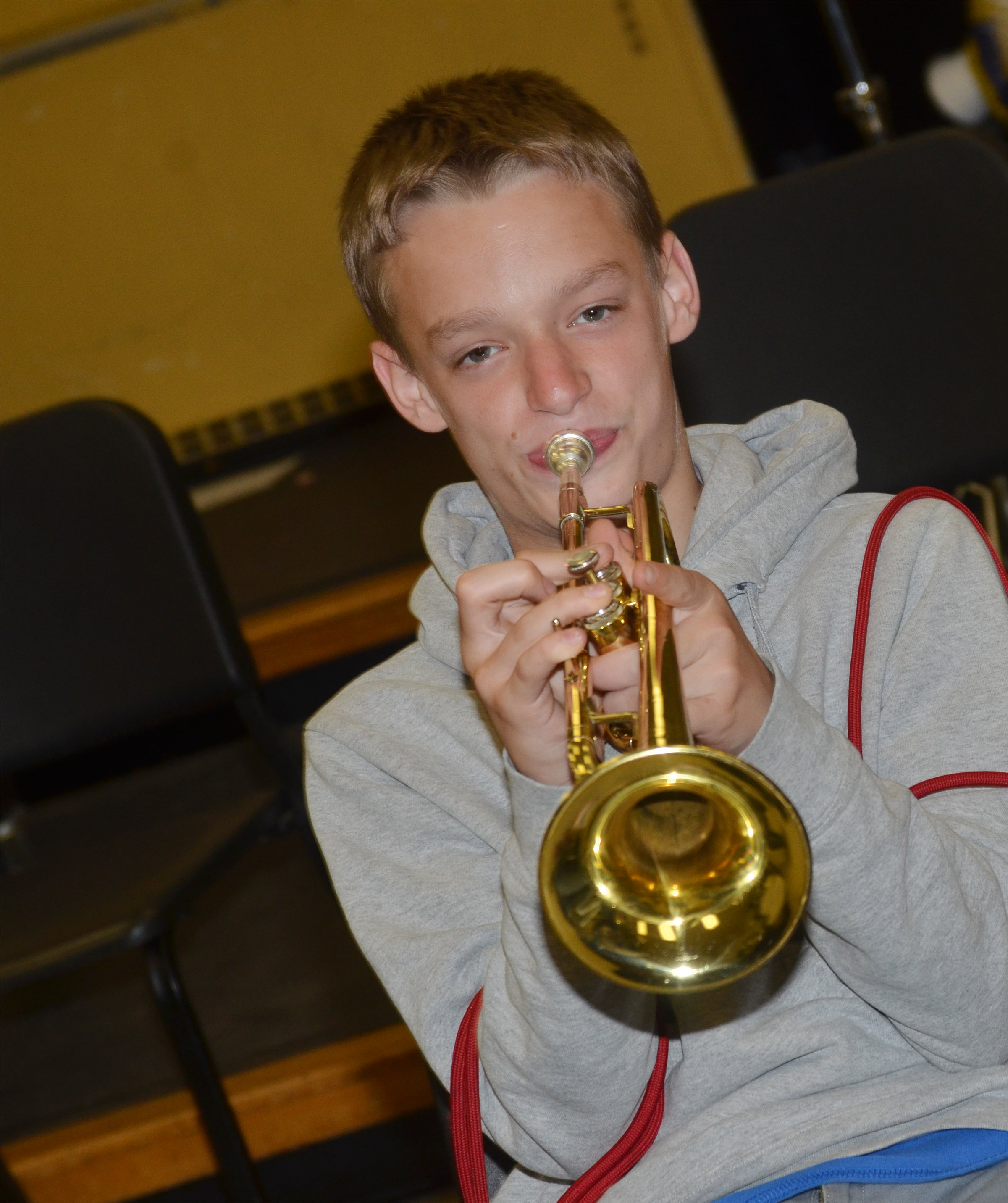 CMS seventh-grader Dalton Reardon plays trumpet.