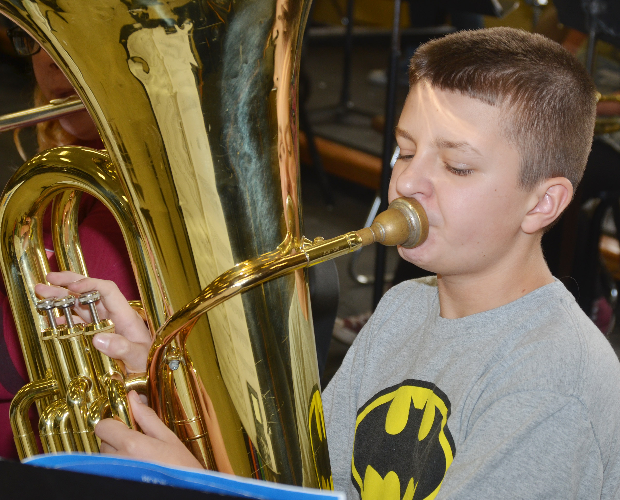 CMS seventh-grader Tyler Booth plays tuba.
