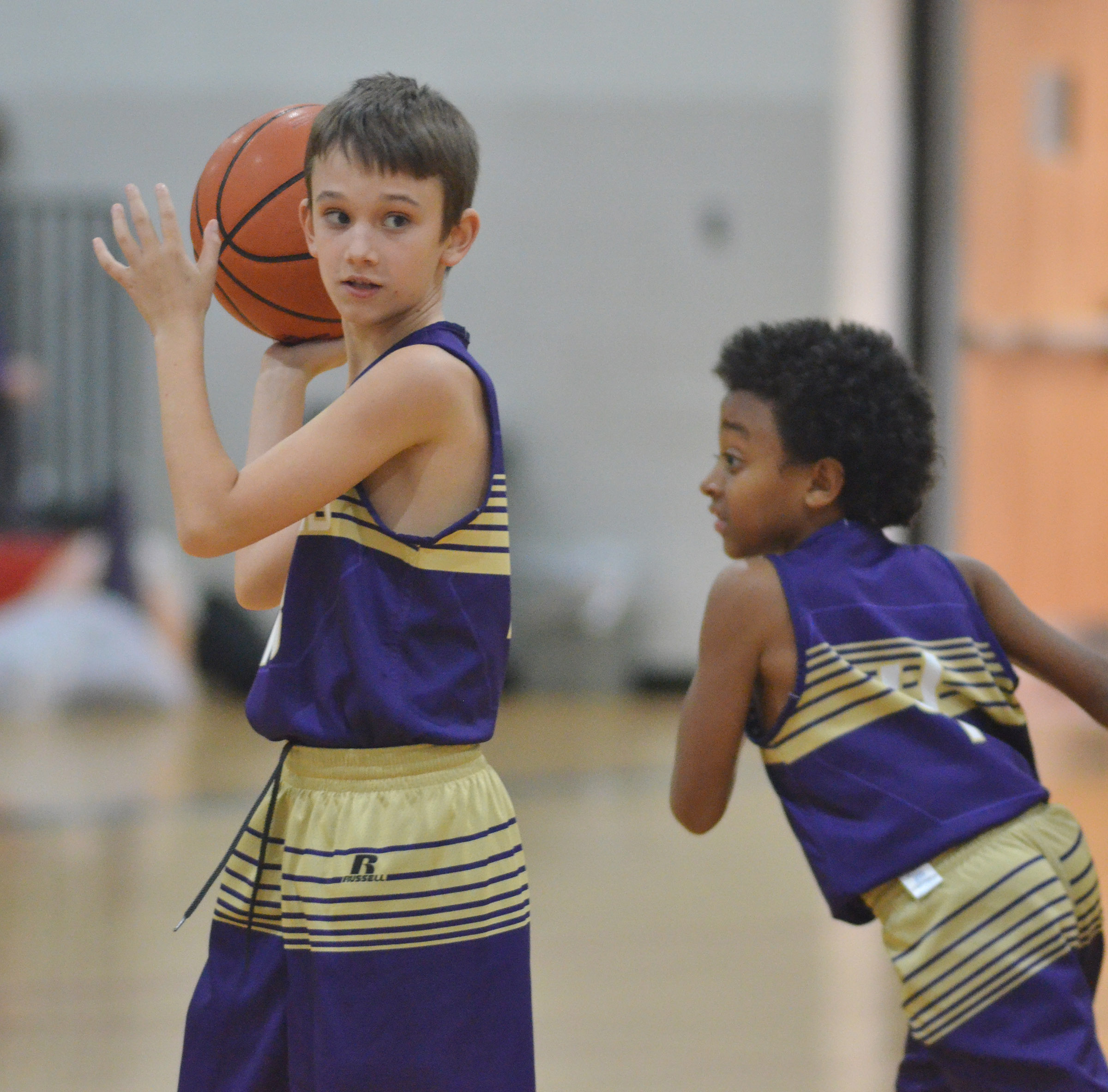 CMS sixth-grader Camren Vicari looks to pass.