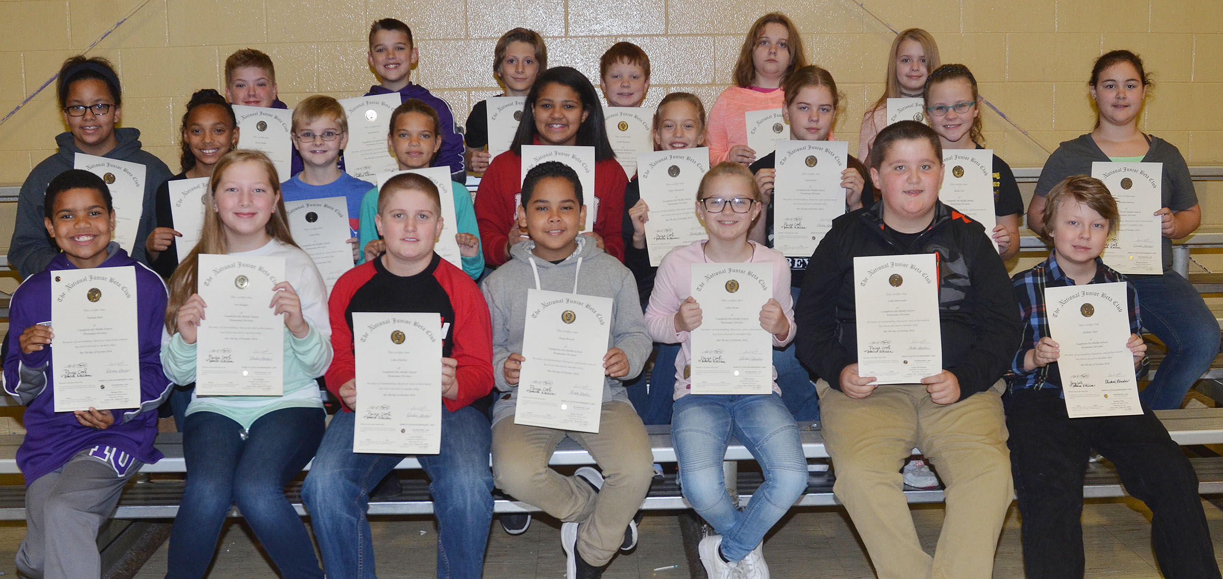 Beta members inducted on Tuesday, Nov. 22, include fifth-graders, from left, front, Tashaun Hart, Ava Hughes, Lance Knifley, Diego Noyola, Lillee Byrne, Luke McDonald and Zachary Akin. Second row, Kiara Graves, Cadence Hagy, Caleb Holt, Arisha Francis, Kehleigh Vaught, Chloe Thompson, Layla Steen, Karlie Cox and Brianna Dobson. Back, Ryan Grubbs, Kaden Bloyd, Kaleb Gray, Conner Rinehart, Lexi Garvin and Jaylie Moore. Absent from the photo are Jovi Bowen, Aryanna Britton, Ellington Gowin and Alexis Sharp.