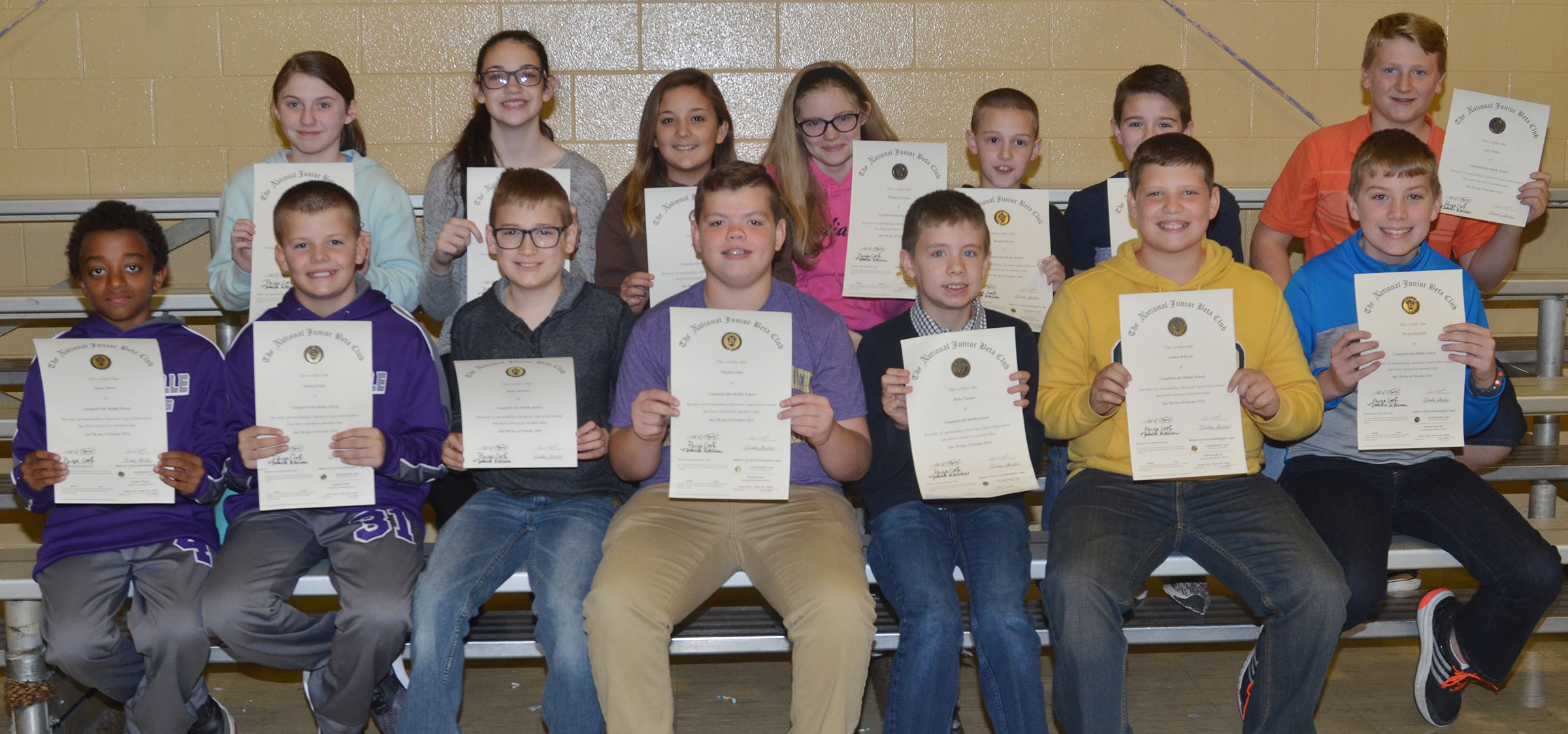 Beta members honored for advancing from the elementary level to the junior division are, from left, front, sixth-graders Zamar Owens, Konner Forbis, Brady Hoosier, Hayden Jones, Blake Tungate, Landon Robison and Wesley Reynolds. Back, Leigh Hicks, Mary Russell, Briana Davis, Whitney Frashure, Brandon Nelson, Bryce Newton and Levi Dicken. Absent from the photo are Chase Hord, Jacob Judd and Zavian McColley.