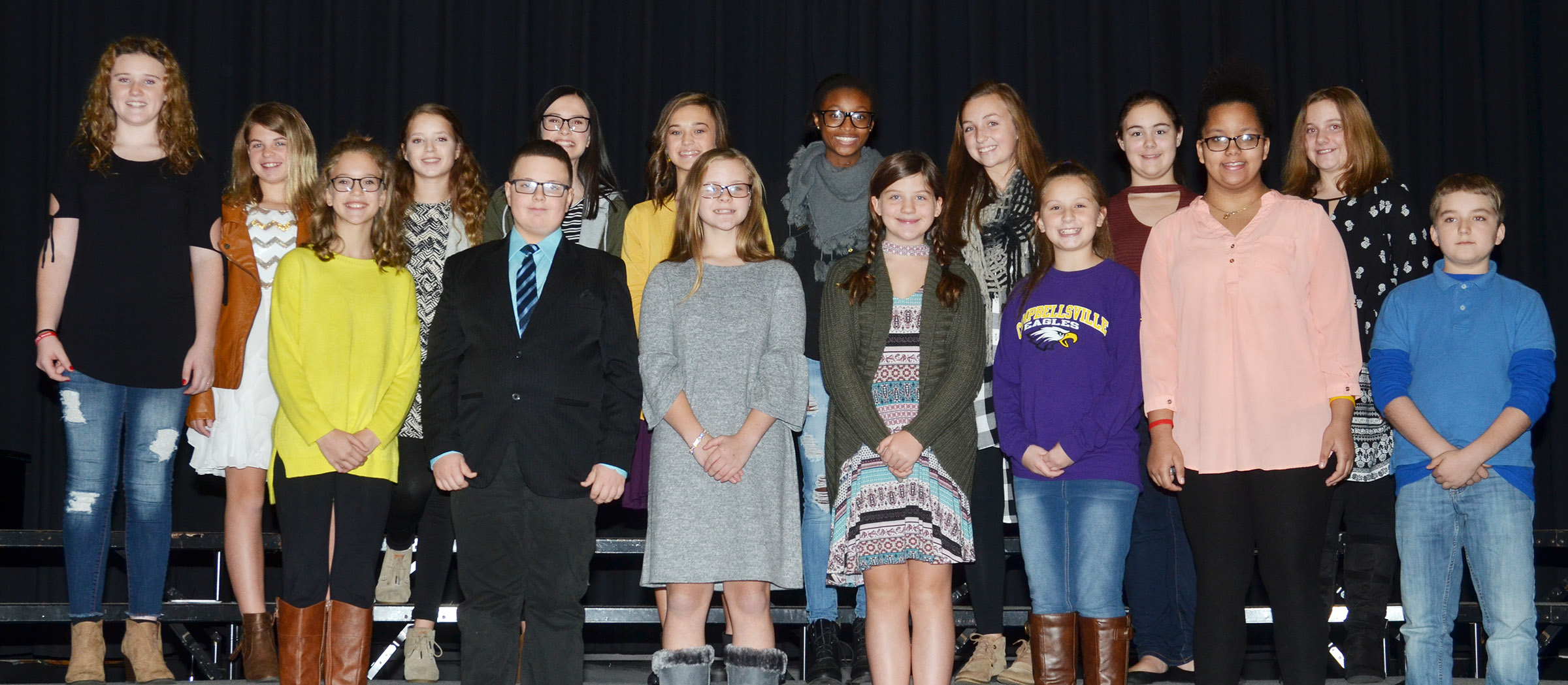 CMS Beta members attending the induction ceremony on Sunday, Nov. 19, include, from left, front, sixth-graders Chloe Thompson, Daniel Caton and Karlie Cox, seventh-grader Mikaela Scharbrough and sixth-graders Mollie Bailey, Kiara Graves and Nathan McFarland. Back row, eighth-grader Abby Brisko, sixth-grader Aryanna Britton, Beta member and eighth-grader Rylee Petett, vice president Sarah Adkins, treasurer Tayler Thompson, reporter Bri Gowdy, secretary Lainey Watson and new members Brianna Dobson and Lexi Garvin, sixth-graders.