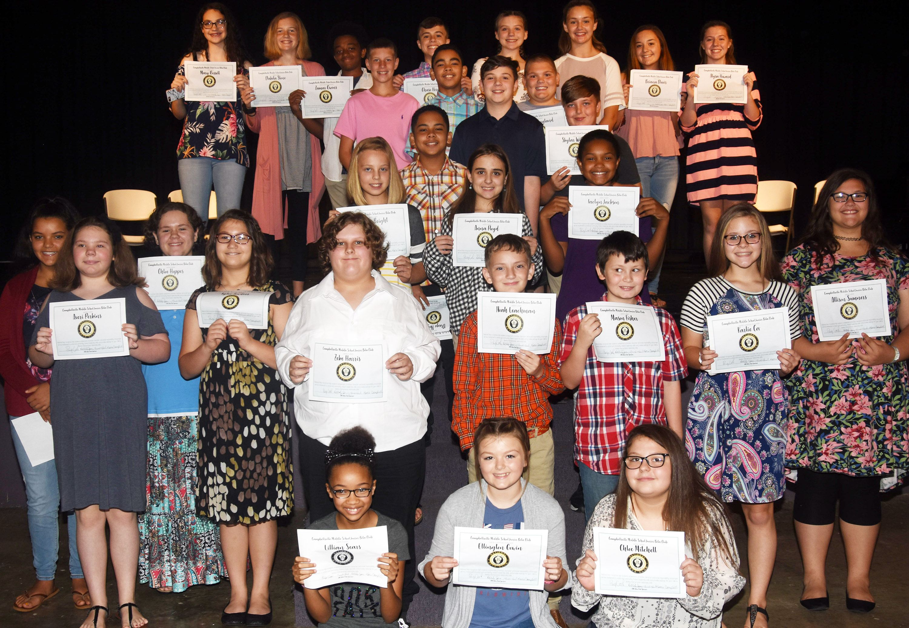 CMS National Junior Beta Club recently inducted more than 30 new members. Attending the ceremony are new and current members. From left, front, are sixth-grader Lillian Sears and seventh-graders Ellington Gowin and Chloe Mitchell. Second row, seventh-grader Gracie Taylor, sixth-graders Averi Perkins, Chloe Hoppes, Kylee Sowders, Zeke Harris, Noah Leachman and Mason Fisher and seventh-graders Karlie Cox and Allison Sumners. Third row, seventh-grader Gabby Bright and sixth-graders Anna Floyd and Jaclyn Jackson. Fourth row, seventh-grader Diego Noyola and sixth-graders Andrew Mardis and Skylar Wilhoite. Back, eighth-graders Mary Russell, Dakota Slone and Zamar Owens, sixth-grader Rowan Petett, eighth-grader Chase Hord, sixth-grader Gabriel Noyola, eighth-grader Mikaela Scharbrough, sixth-grader Logan England and eighth-graders Haylee Allen, Bri Davis and Alysa Howard.