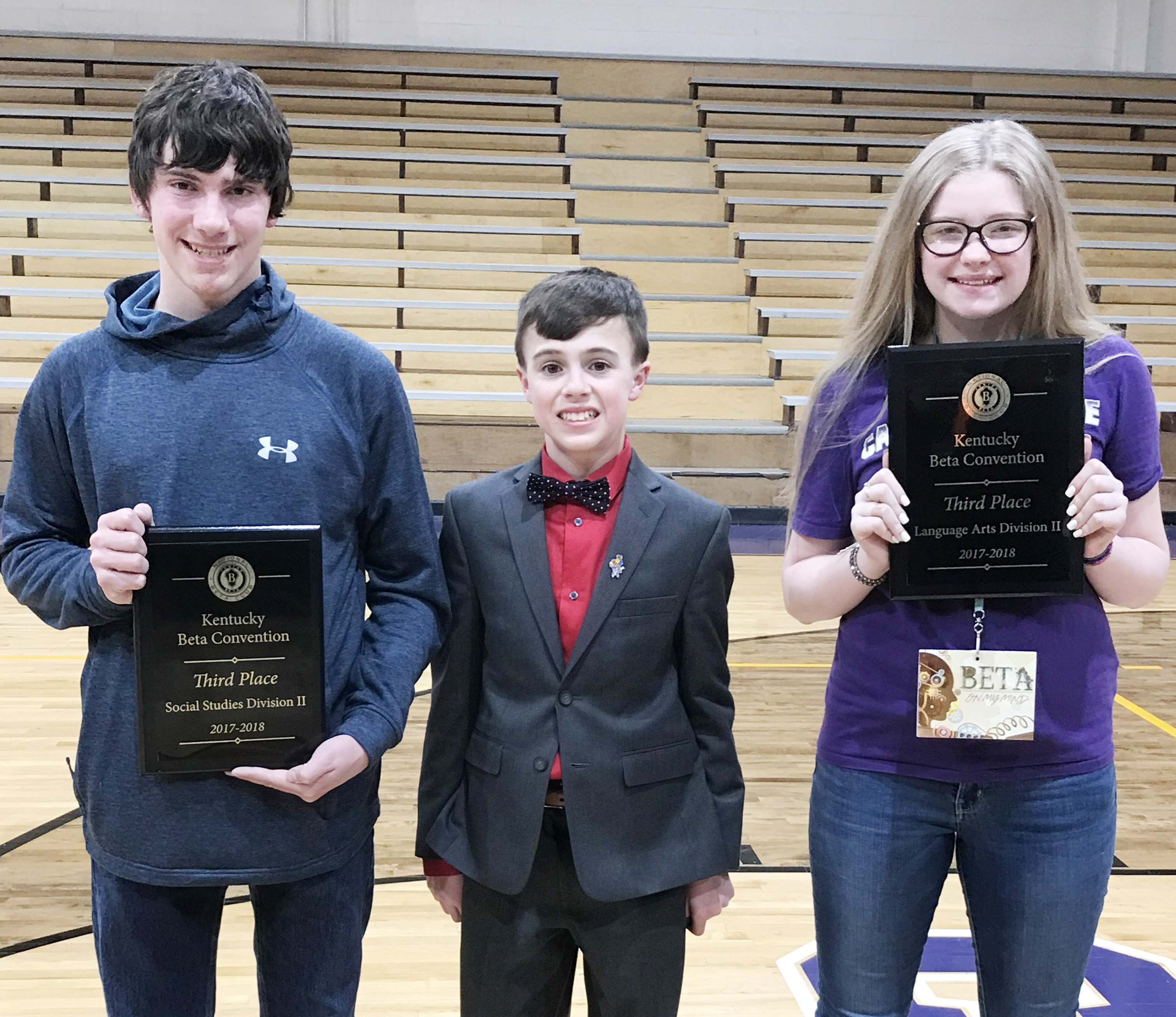 CMS seventh-grader Chase Hord, center, made history at this year's Kentucky Junior Beta convention. Hord, center, was elected secretary and becomes the first CMS student to win a state office. Eighth-grader Peyton Dabney, at left, won third place in the social studies competition and seventh-grader Whitney Frashure won third place in language arts. Hord, Dabney and Frashure all advance to compete at the National Junior Beta convention in Savannah, Ga., on June 13-16.