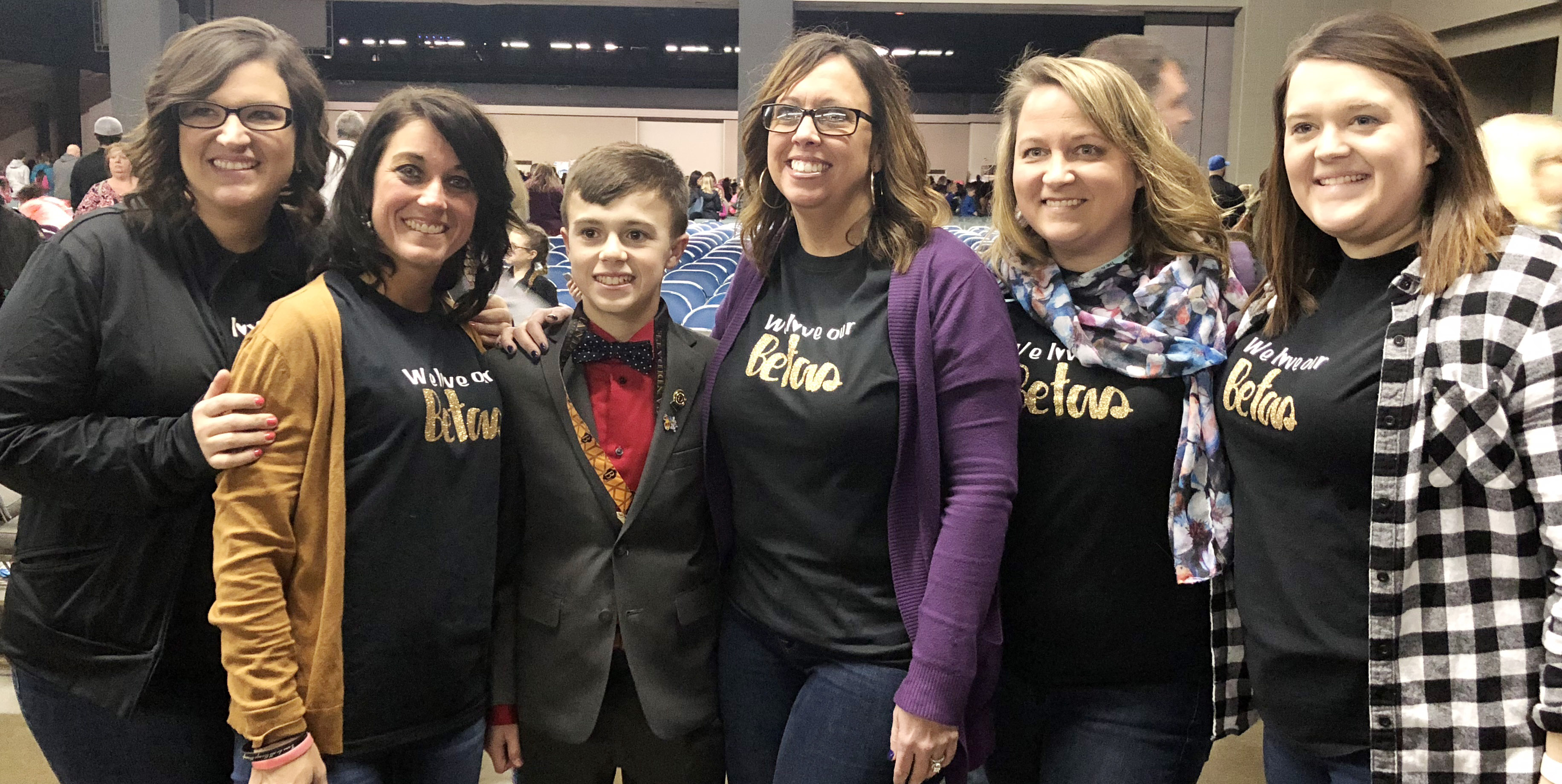 CMS Beta sponsors pose for a photo with newly elected Kentucky Junior Beta Secretary Chase Hord, a seventh-grader. He is the first CMS student to be elected to a state Beta office. From left are CMS teacher Robbilyn Speer, bookkeeper Natalia Warren, Campbellsville Elementary School teacher Farrah Hord and CMS teachers Katie Campbell and Paige Cook.