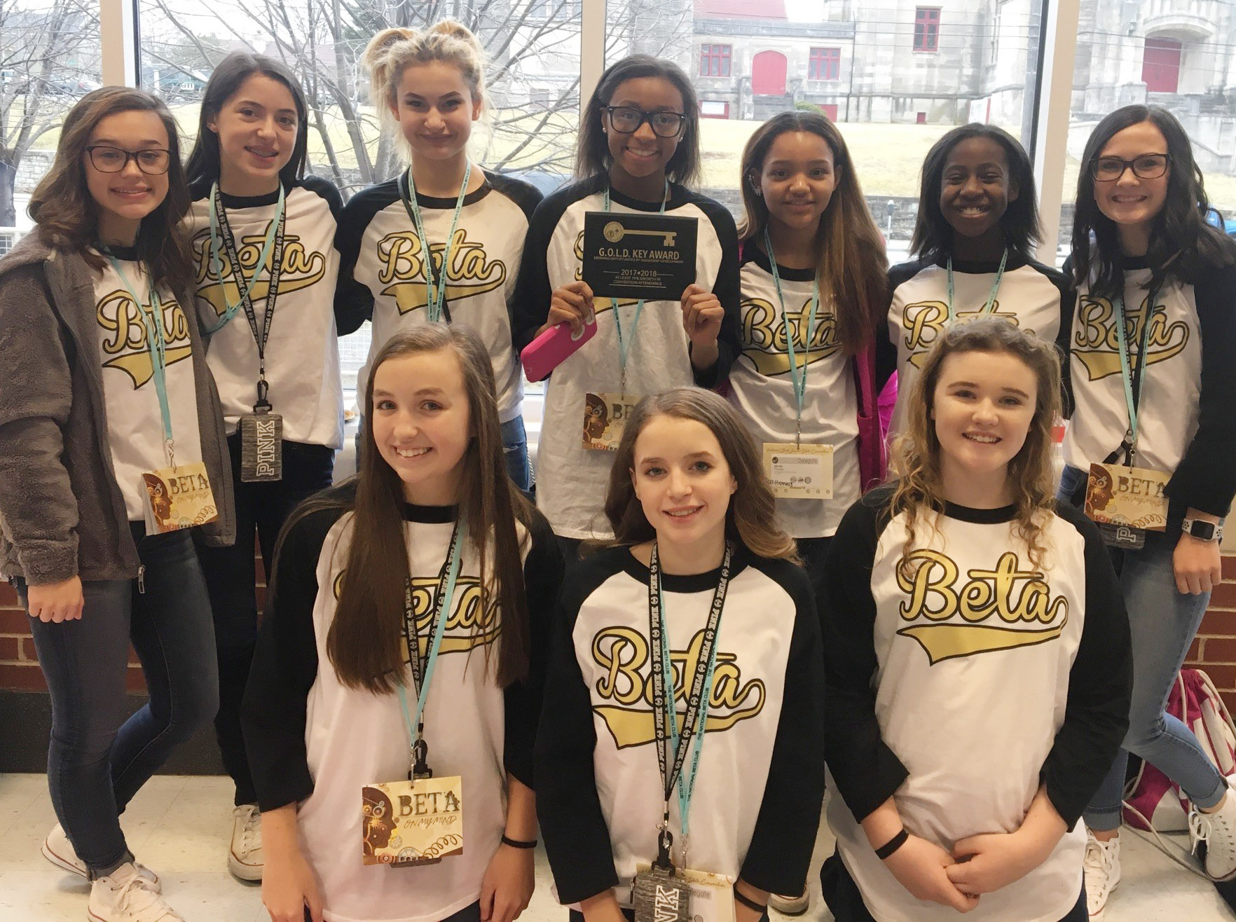 As a whole, the CMS Junior Beta Club was awarded a National 10% Growth Award and named a National School of Merit. From left, front, are eighth-graders Lainey Watson, Rylee Petett and Abby Brisko. Back, eighth-graders Tayler Thompson, Kaylyn Smith, Christina Miller, Bri Gowdy, Alexis Thomas, Myricle Gholston and Sarah Adkins.