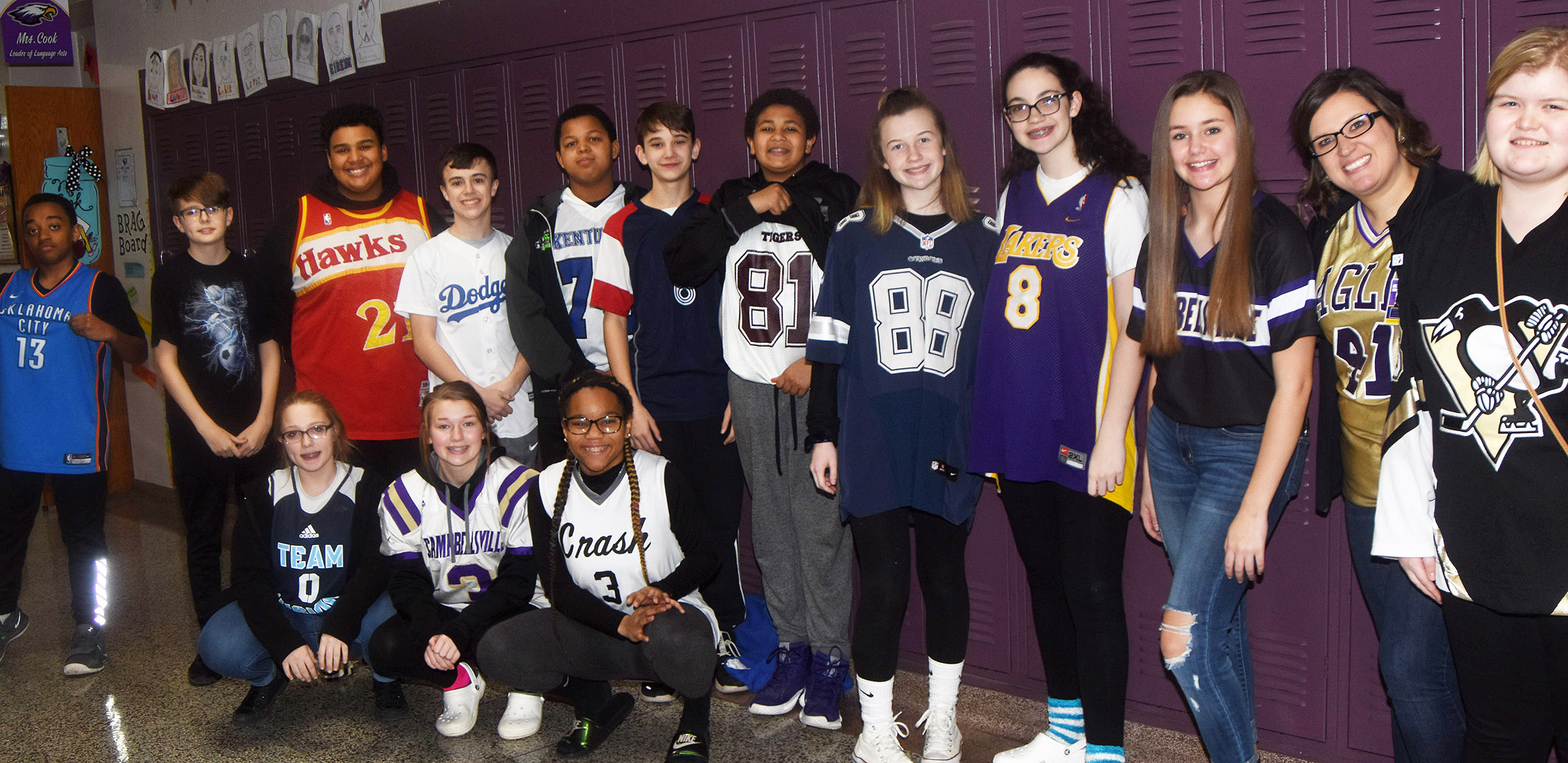 CMS students dress in jerseys for Team Thursday.