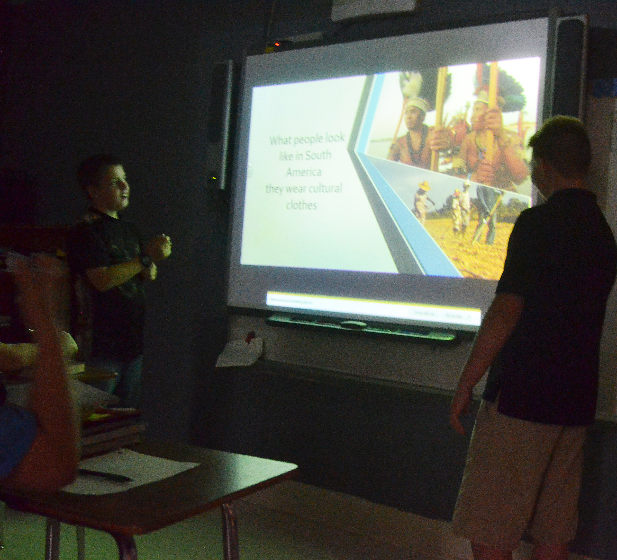 CMS sixth-graders Ashton Davis, at left, and Jesse King talk to their classmates about South America.