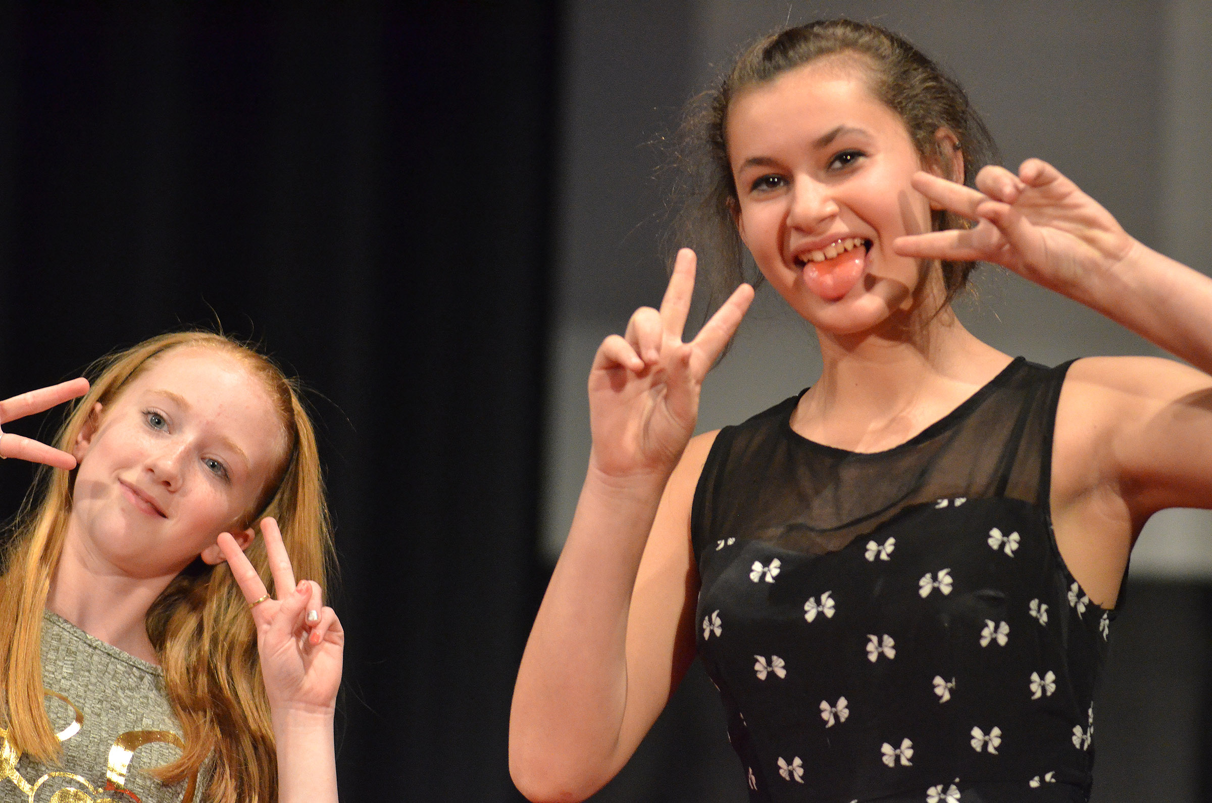 CMS seventh-graders Hayley Wethington, at left, and Christina Miller pose.