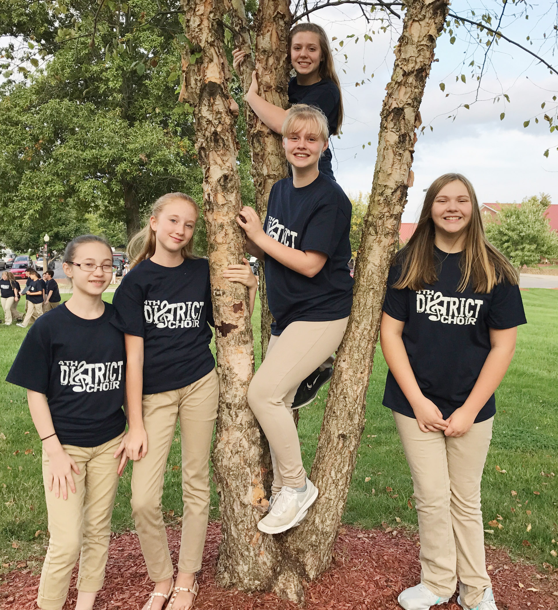 CMS students chosen to participate in the junior high choir include, from left, eighth-graders Cailet Clark, Hayley Wethington and Gabby Skaggs, seventh-grader Alysa Howard and eighth-grader Isabella Vannice.