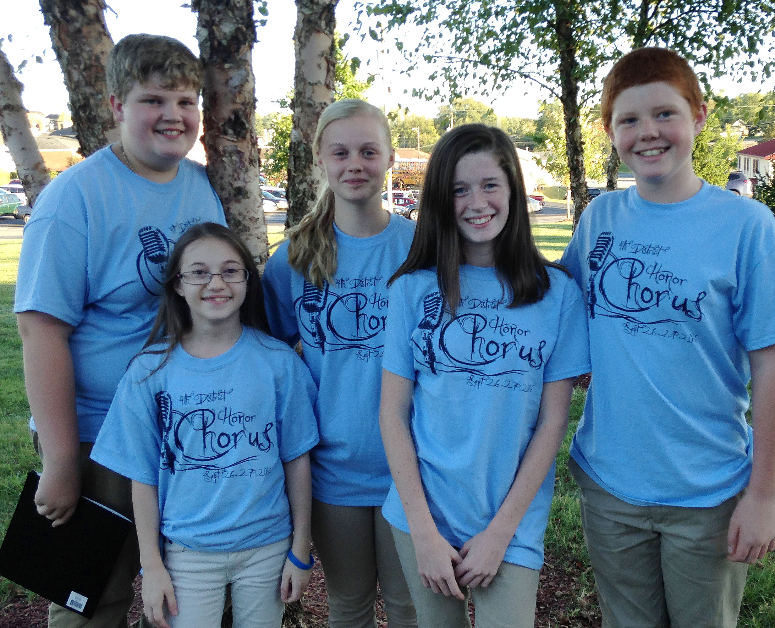 Students participating in the junior high all-district choir are, from left, CMS eighth-grader Noah Mardis, seventh-graders Cailet Clark and Gabby Skaggs, CHS freshman Gracyne Hash and seventh-grader Colin Harris.
