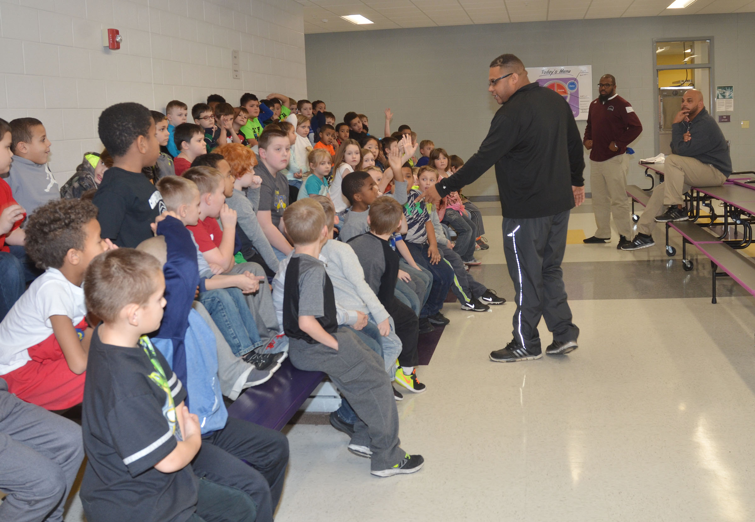 CMS and CHS football coaches recently met with Campbellsville Elementary School students interested in participating in the One Family, One Team, One Goal, One Dream football camp, which begins Wednesday, Feb. 1.