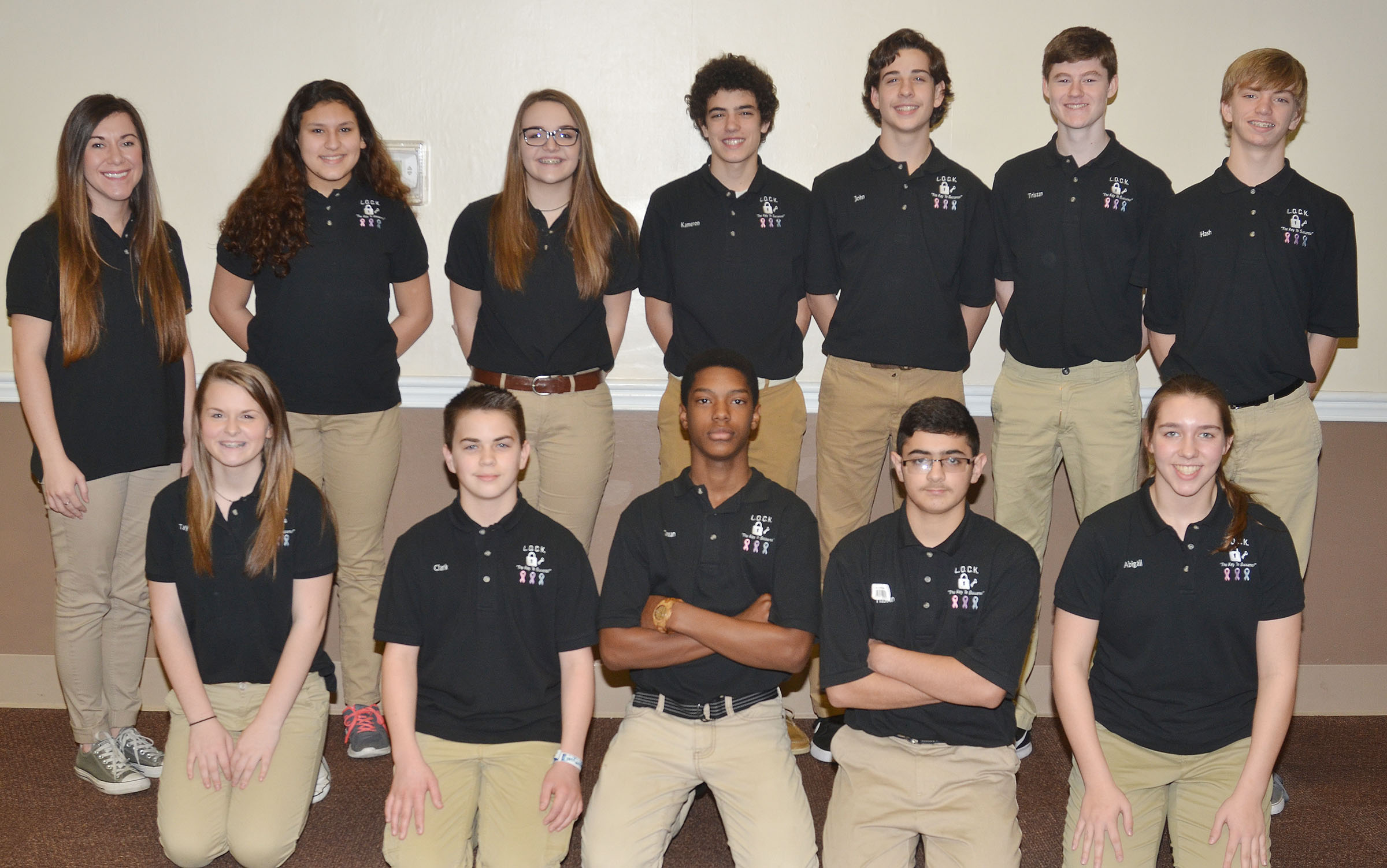 CMS eighth-graders participating in this year's CU leadership program are, from left, front, Taylor Knight, Clark Kidwell, Zaquan Cowan, Hassan Alabusalim and Abi Wiedewitsch. Back, advisor Courtney Mills, Ana Clara Moura, Kenzi Forbis, Kameron Smith, John Orberson, Tristin Faulkner and Arren Hash.