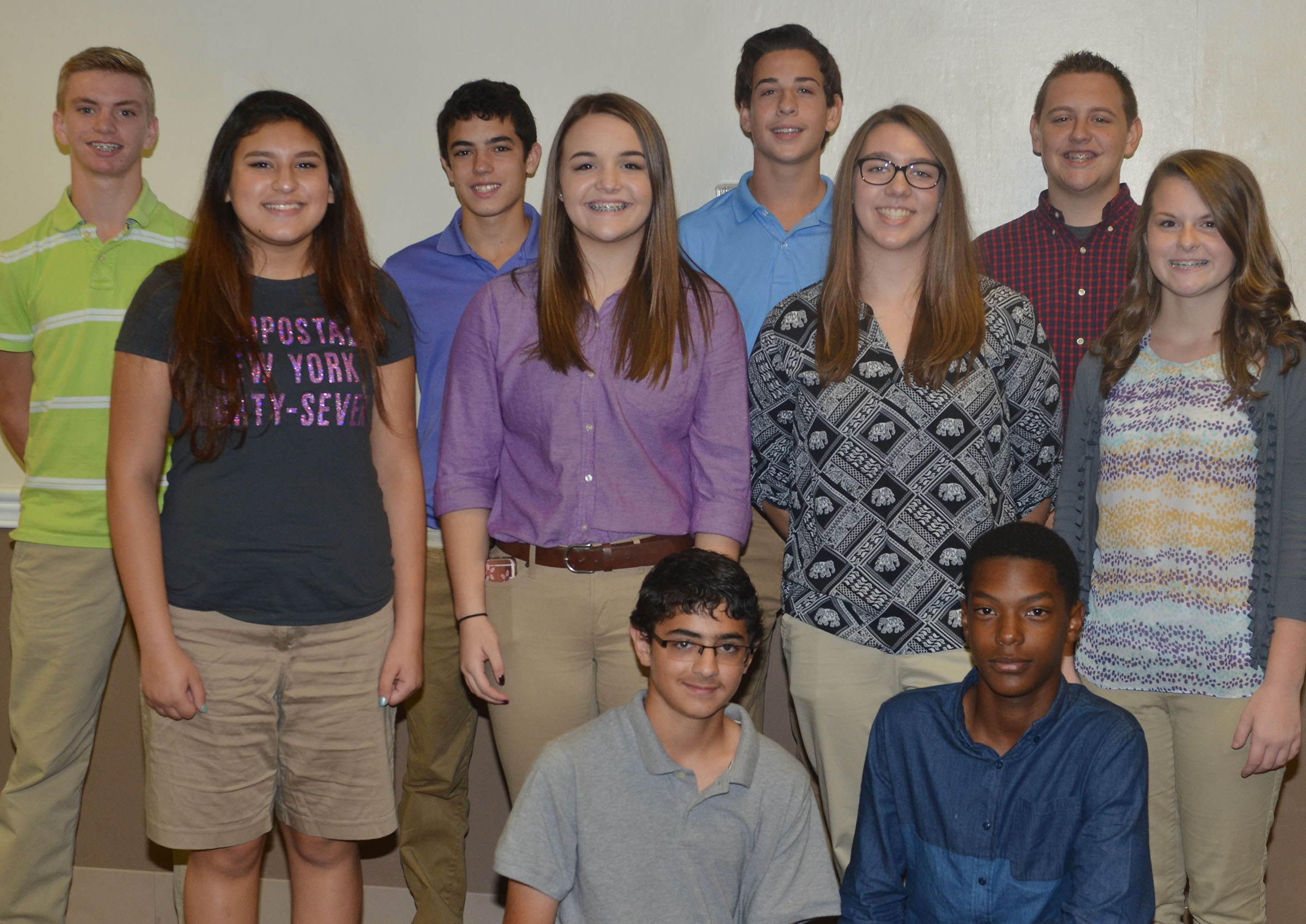 CMS eighth-graders participating in this year's Campbellsville University leadership program are, from left, front, Hassan Alabusalim and Zaquan Cowan. Second row, Ana Clara Moura, Kenzi Forbis, Abi Wiedewitsch and Taylor Knight. Back, Arren Hash, Kameron Smith, John Orberson and Jackson Antle. Clark Kidwell and Tristin Faulkner were unable to attend the orientation event.