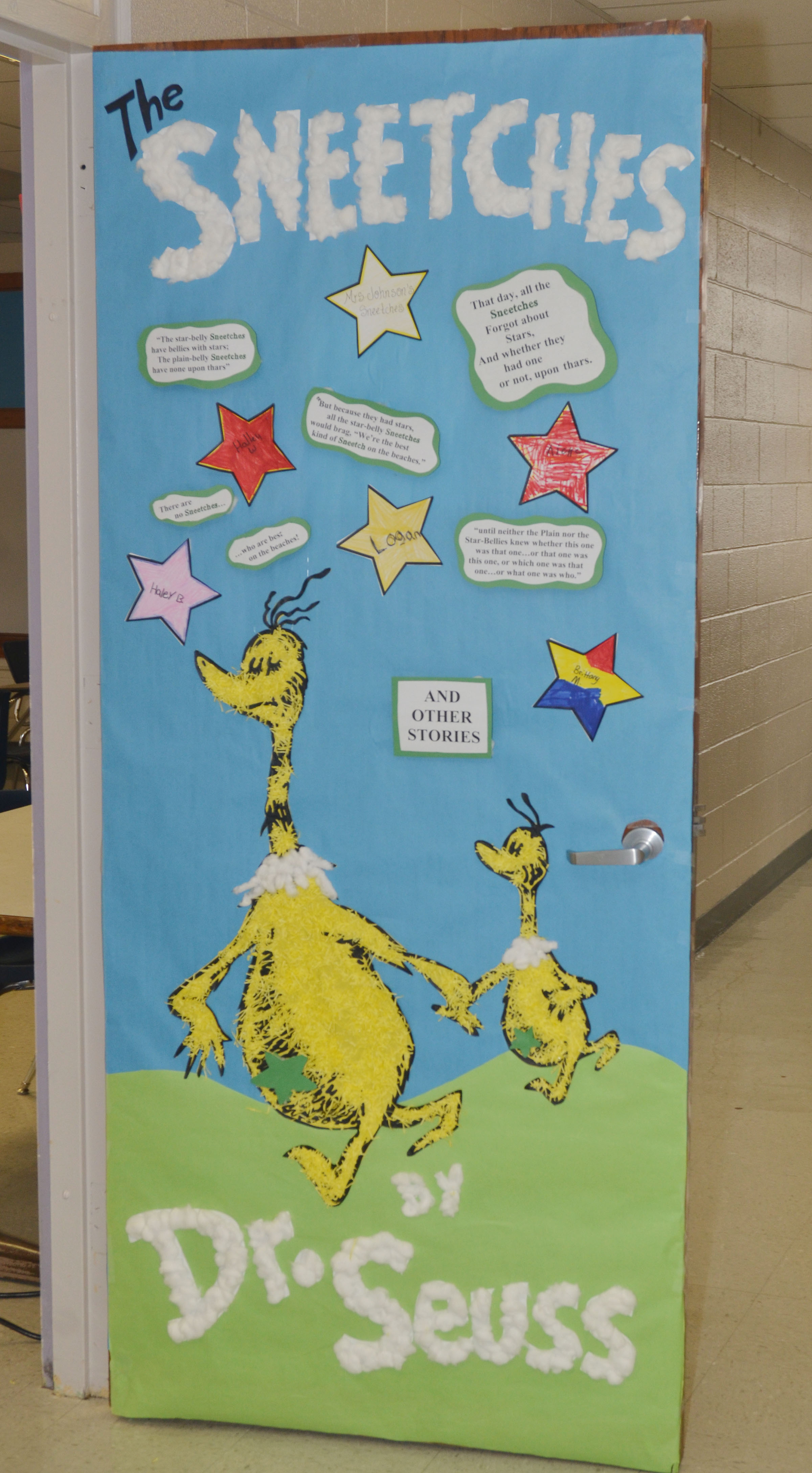 CMS fourth-grade teacher Kaye Agathen won second place in the Dr. Seuss door decorating contest. & CMS teachers compete in Dr. Seuss door decorating contest ...