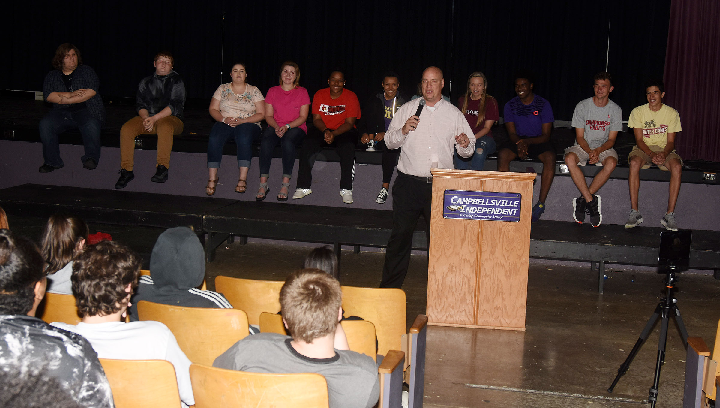 CHS Principal David Petett leads a panel of his students as they give advice about high school to Campbellsville Middle School eighth-graders.