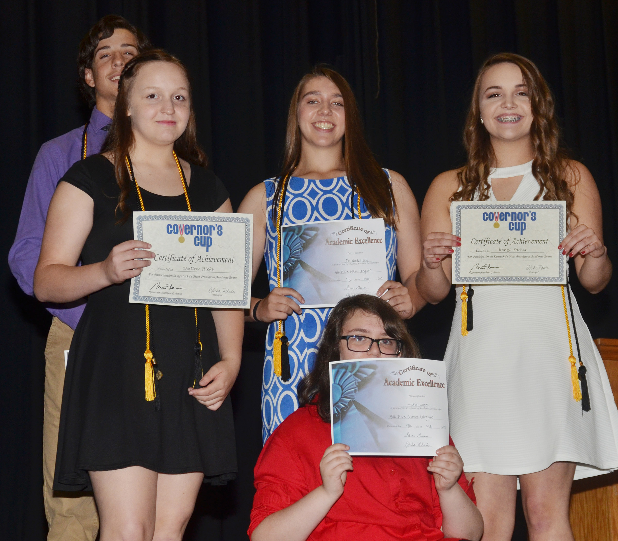 CMS eighth-graders, from left, John Orberson, Destiny Hicks, Abi Wiedewitsch, Haley Lopez and Kenzi Forbis receive academic team awards.