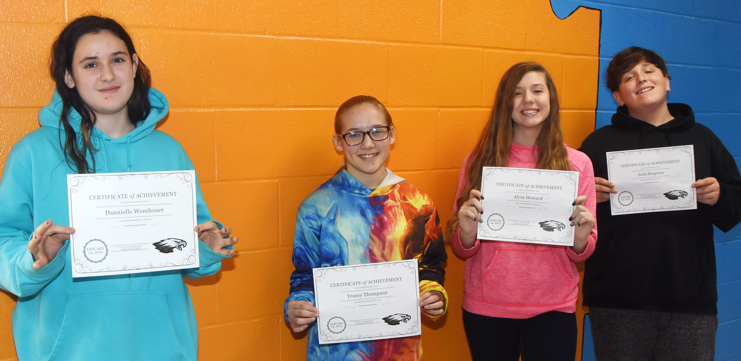 CMS Exceeding Eagles for the week of Jan. 21 are, from left, sixth-grader Dannielle Wemhoner, seventh-grader Tracey Thompson and eighth-graders Alysa Howard and Josh Simpson. Absent from the photo are sixth-grader Mason Fisher and seventh-grader Jordan Gabehart.