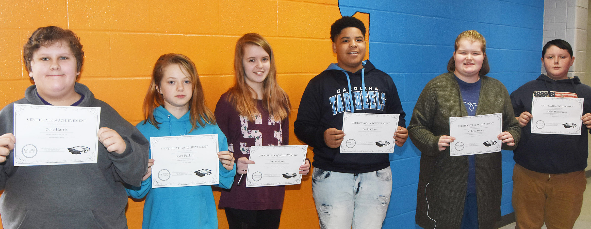CMS Exceeding Eagles for the week of Jan. 7 are, from left, sixth-graders Zeke Harris and Kyra Parker, seventh-graders Jaylie Moore and Devin Kinser and eighth-graders Aubrey Young and Aiden Humphress.