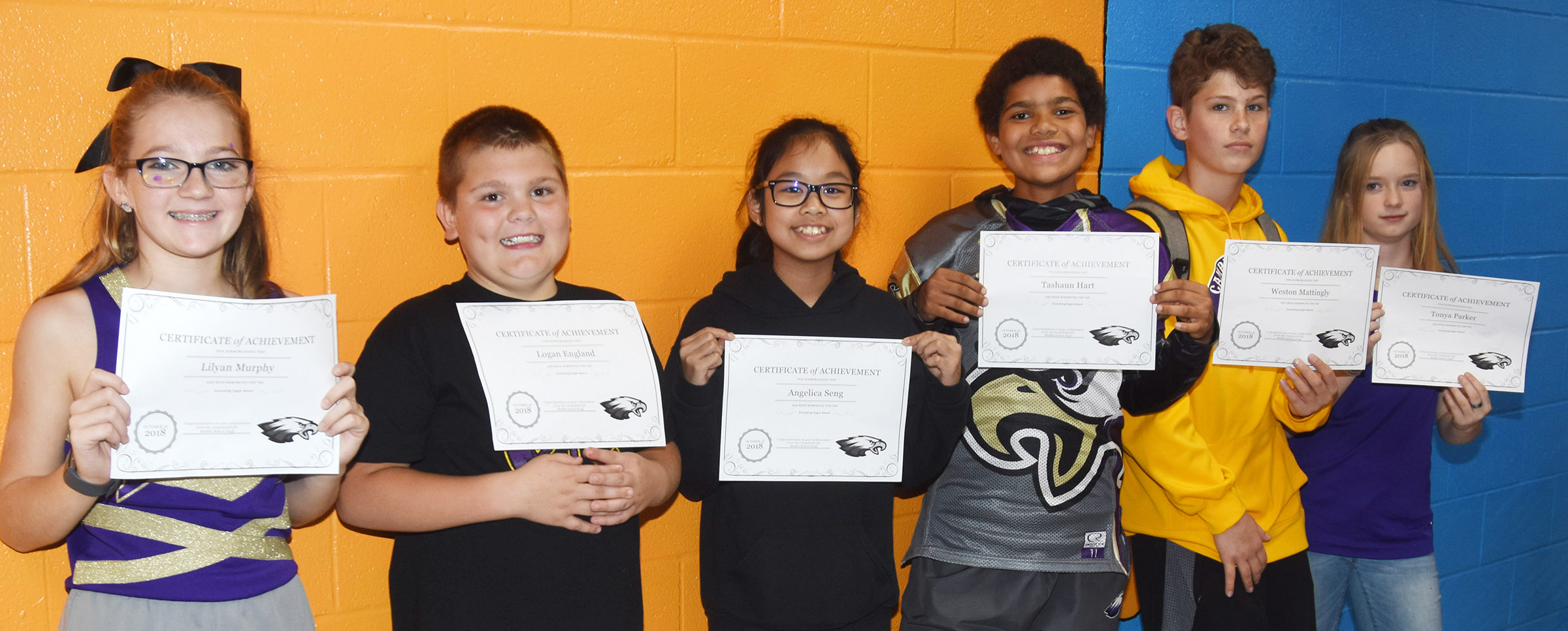CMS Exceeding Eagles for the week of Oct. 8 are, from left, sixth-graders Lilyan Muprhy and Logan England, seventh-graders Angelica Seng and Tashaun Hart and eighth-graders Weston Mattingly and Tonya Parker.