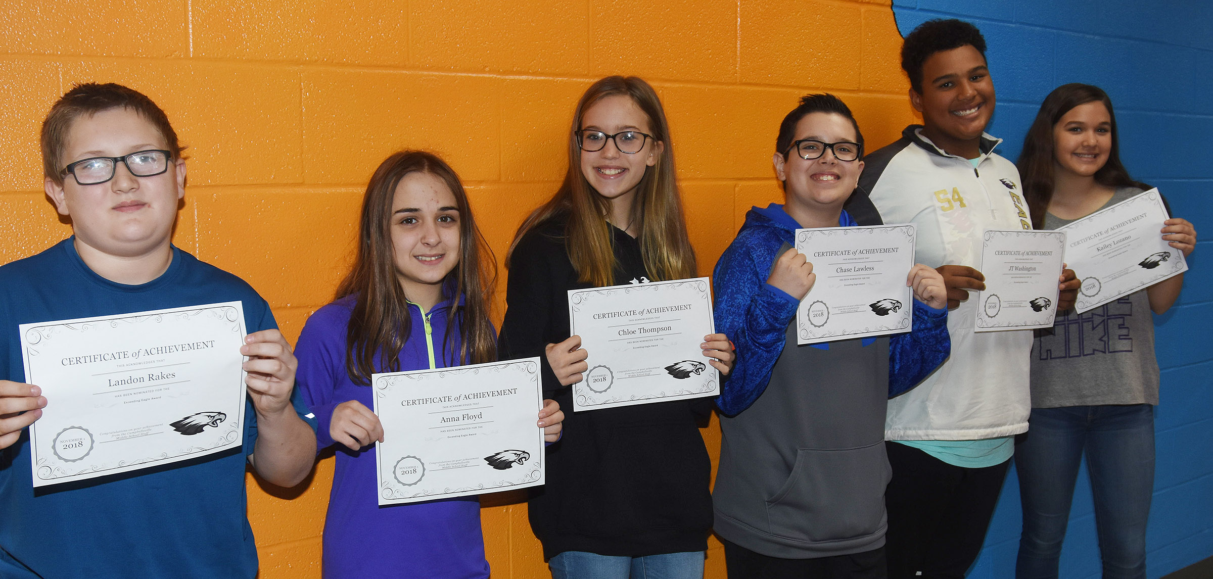 CMS Exceeding Eagles for the week of Oct. 29 are, from left, sixth-graders Landon Rakes and Anna Floyd, seventh-graders Chloe Thompson and Chase Lawless and eighth-graders J.T. Washington and Kailey Lozano.