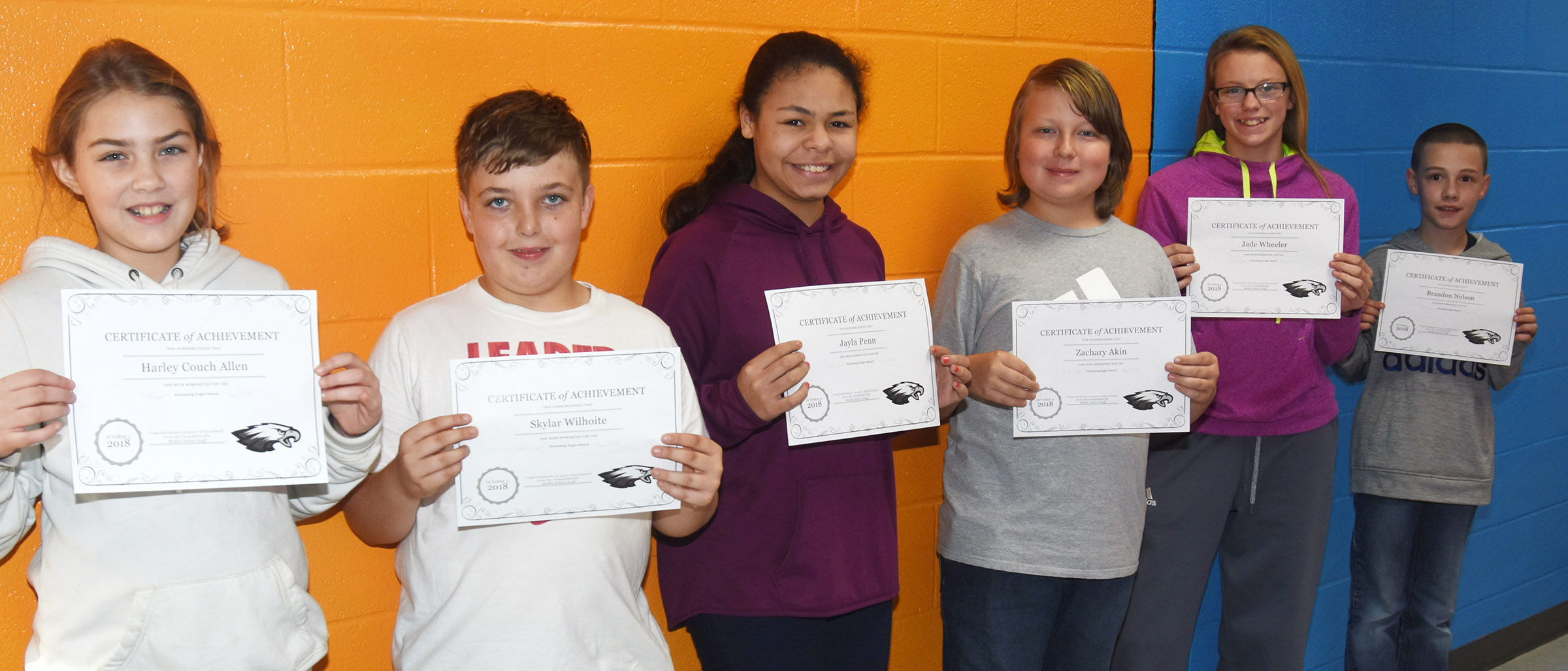 CMS Exceeding Eagles for the week of Oct. 8 are, from left, sixth-graders Harley Couch-Allen and Skylar Wilhoite, seventh-graders Jayla Penn and Zachary Akin and eighth-graders Jade Wheeler and Brandon Nelson.