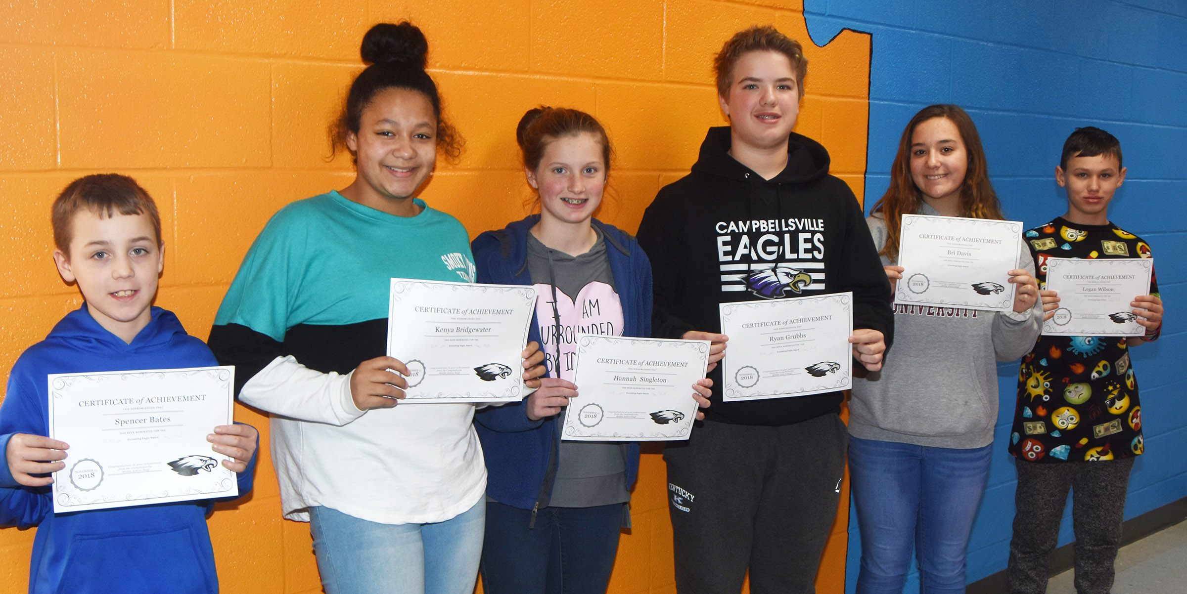 CMS Exceeding Eagles for the week of Nov. 12 are, from left, sixth-graders Spencer Bates and Kenya Bridgewater, seventh-graders Hannah Singleton and Ryan Grubbs and eighth-graders Bri Davis and Logan Wilson.