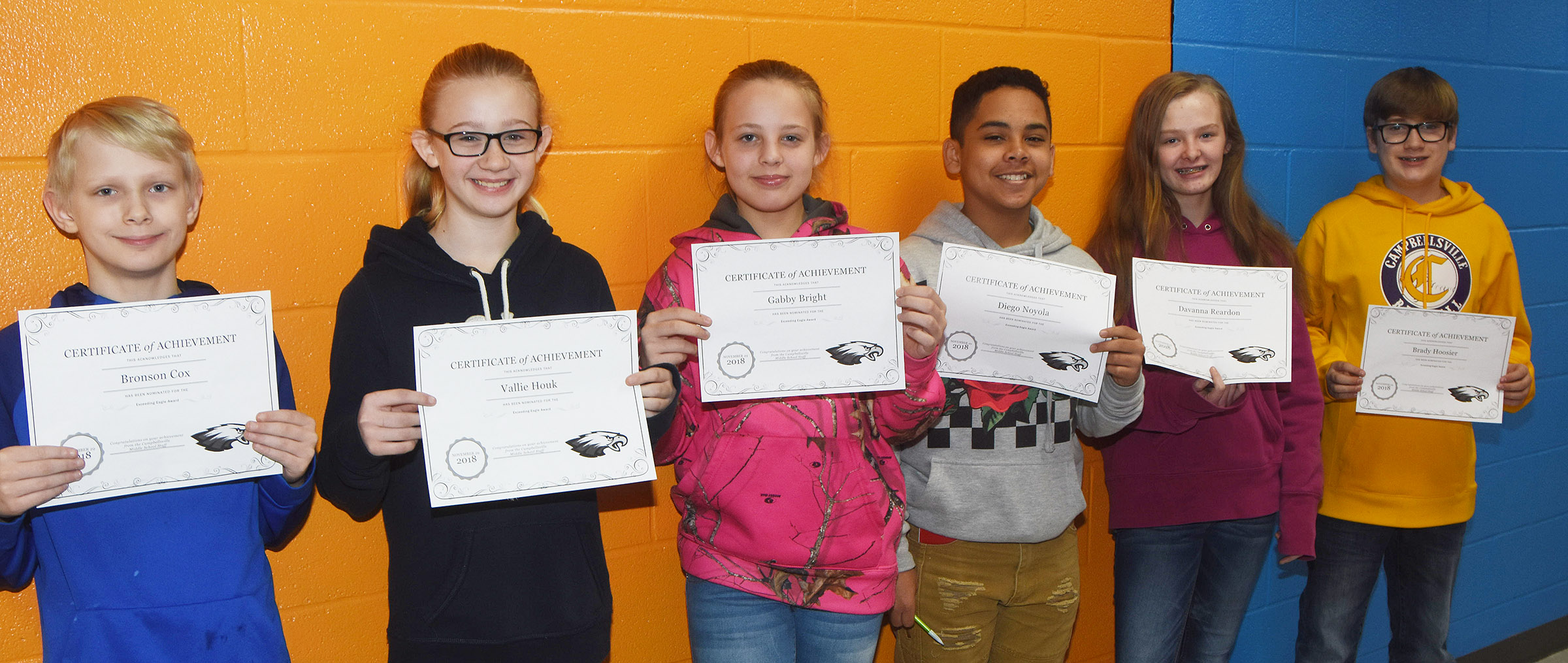 CMS Exceeding Eagles for the week of Nov. 26 are, from left, sixth-graders Bronson Cox and Vallie Houk, seventh-graders Gabby Bright and Diego Noyola and eighth-graders Davanna Reardon and Brady Hoosier.