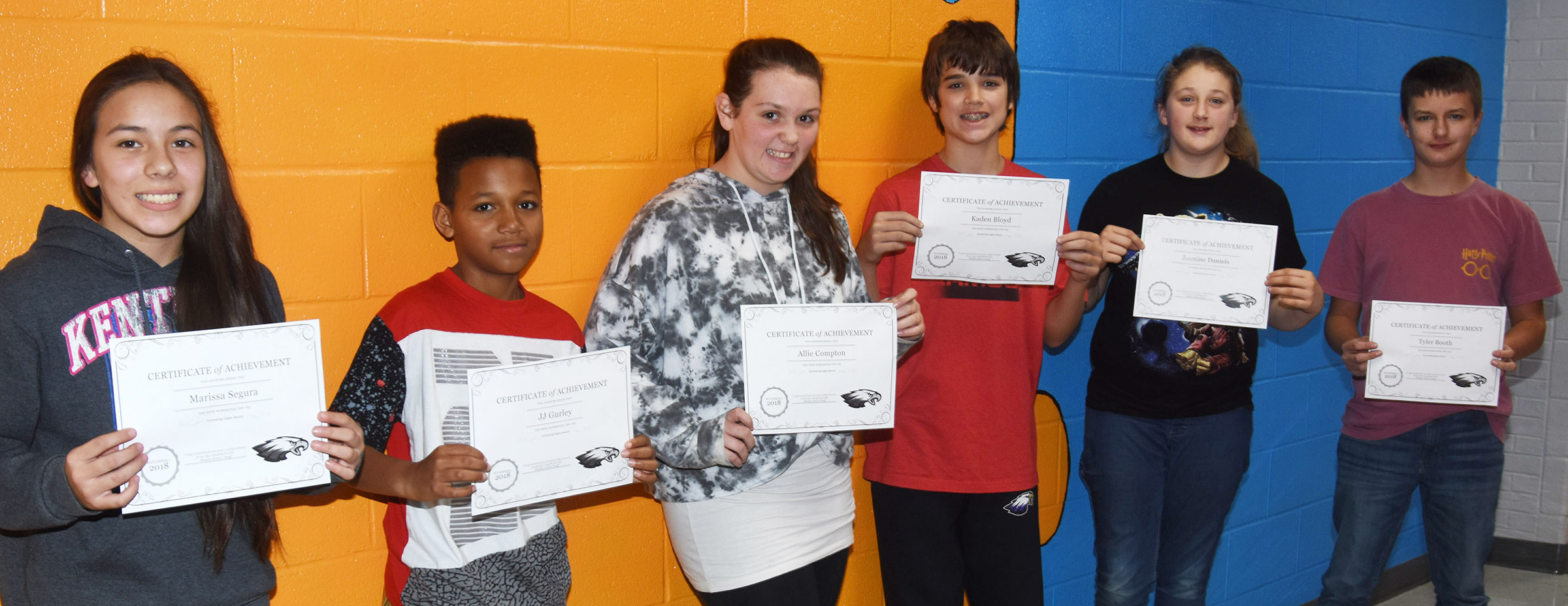 CMS Exceeding Eagles for the week of Nov. 5 are, from left, sixth-graders Marissa Segura and J.J. Gurley, seventh-graders Allie Compton and Kaden Bloyd and eighth-graders Jasmine Daniels and Tyler Booth.