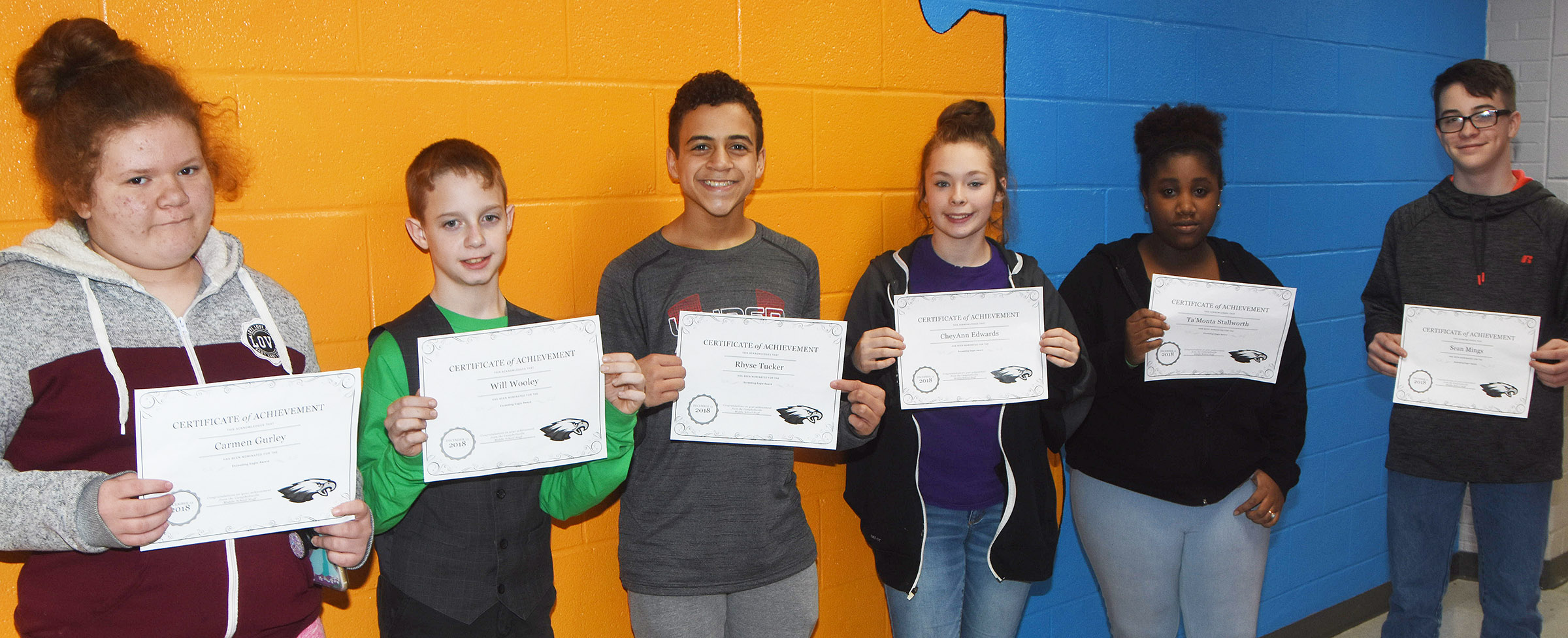 CMS Exceeding Eagles for the week of Dec. 10 are, from left, sixth-graders Carmen Gurley and Will Wooley, seventh-graders Rhyse Tucker and CheyAnn Edwards and eighth-graders Ta'Monta Stallworth and Sean Mings.
